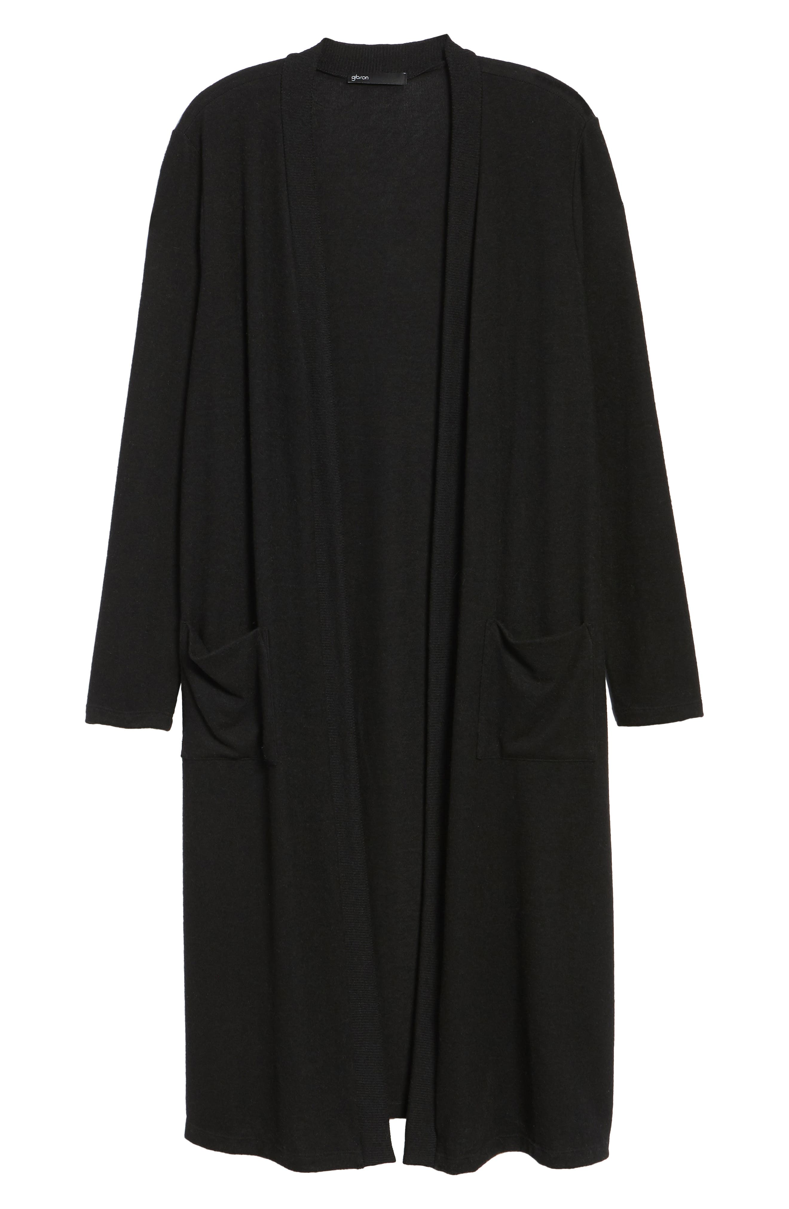 Long Fleece Open Cardigan,                             Alternate thumbnail 7, color,                             Black