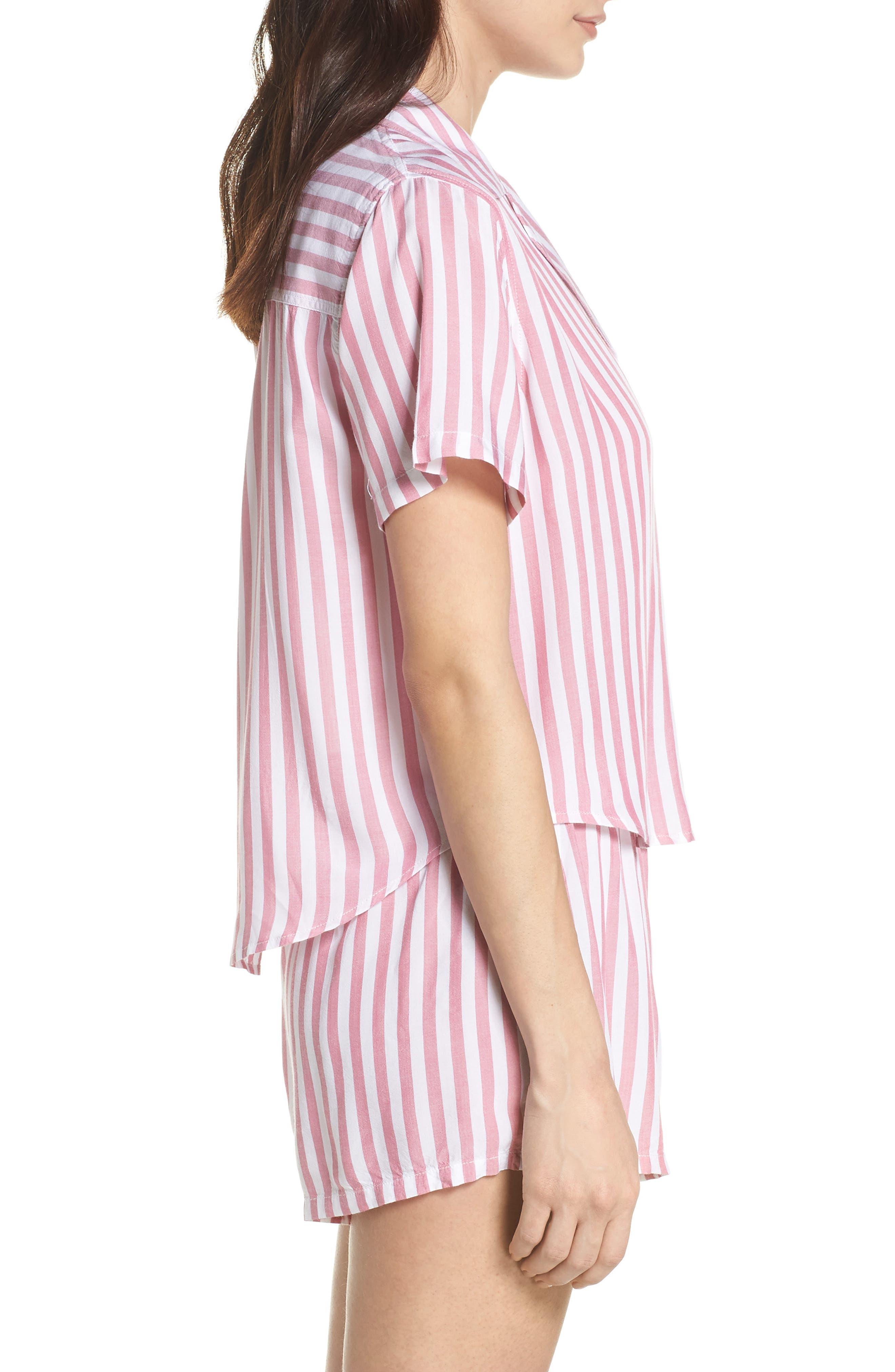 Stripe Short Pajamas,                             Alternate thumbnail 3, color,                             Garnet White