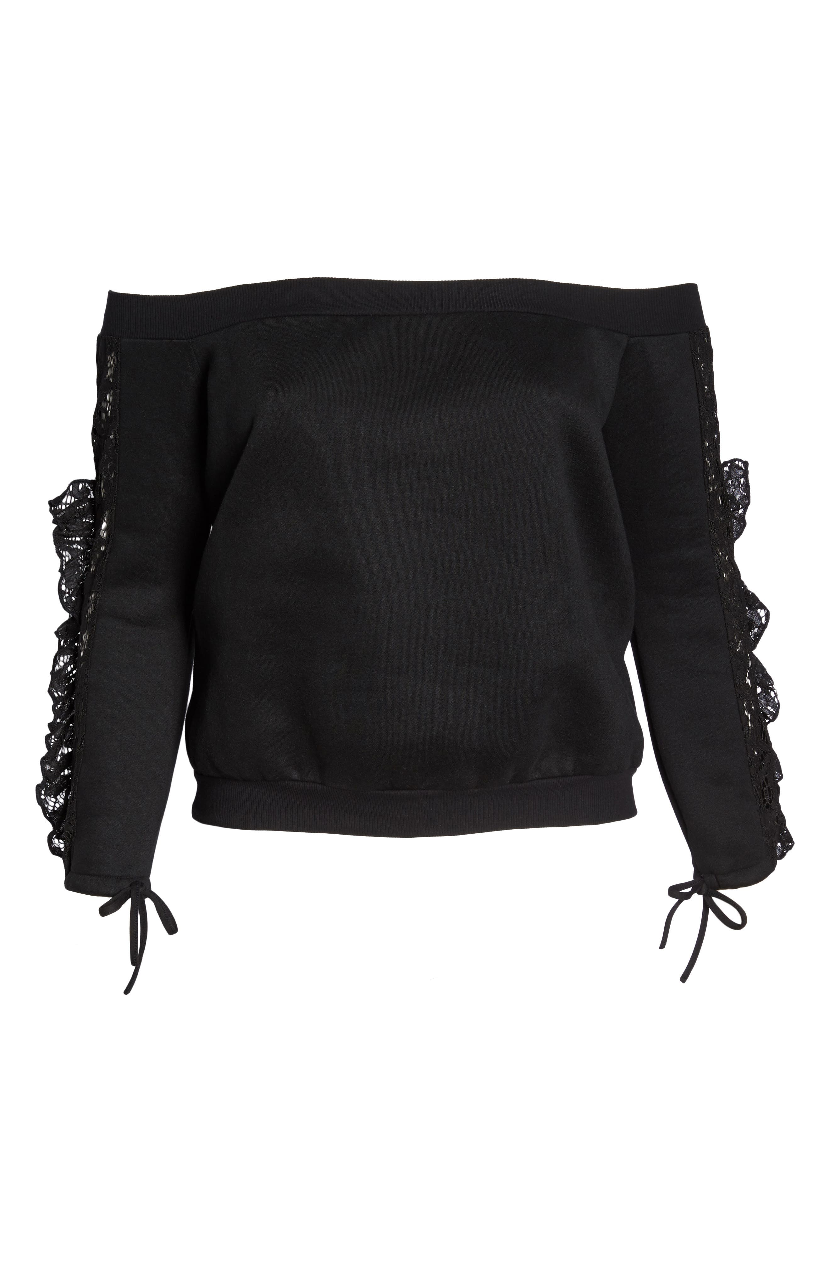 Lace Ruffle Sleeve Off the Shoulder Sweatshirt,                             Alternate thumbnail 7, color,                             Black