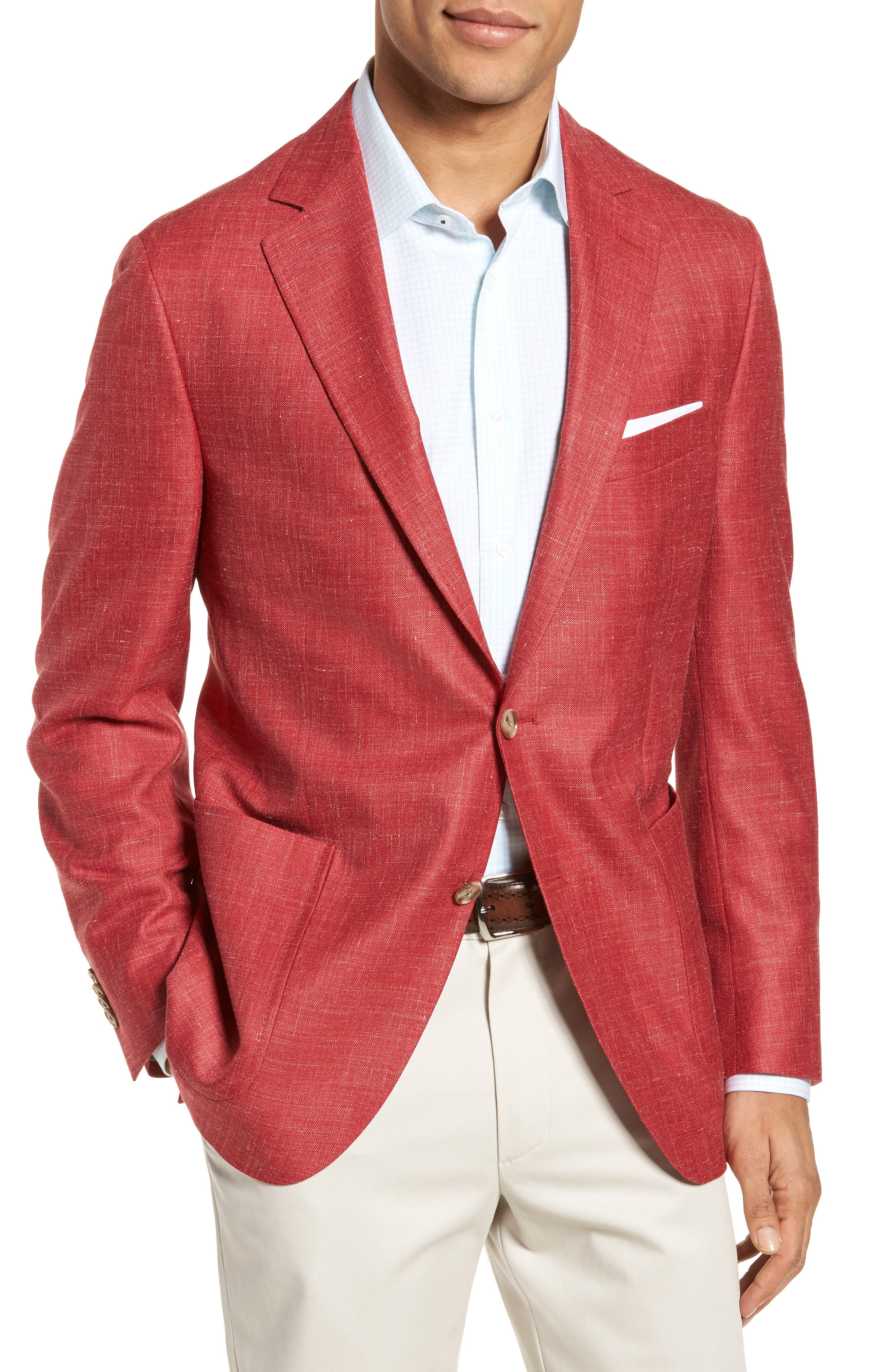Classic Fit Wool Blend Blazer,                         Main,                         color, Coral