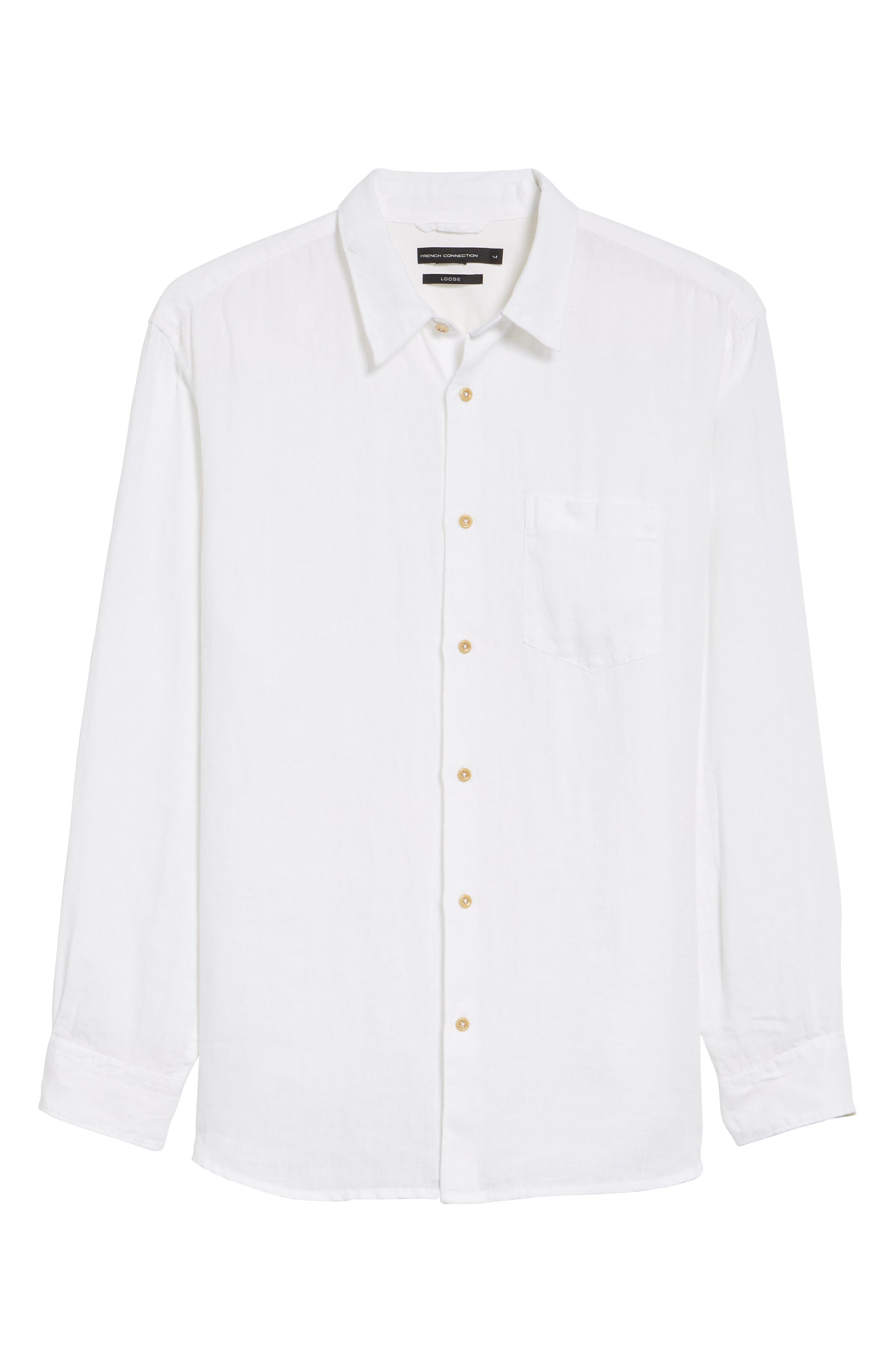 Relaxed Fit Solid Linen Sport Shirt,                             Alternate thumbnail 6, color,                             White