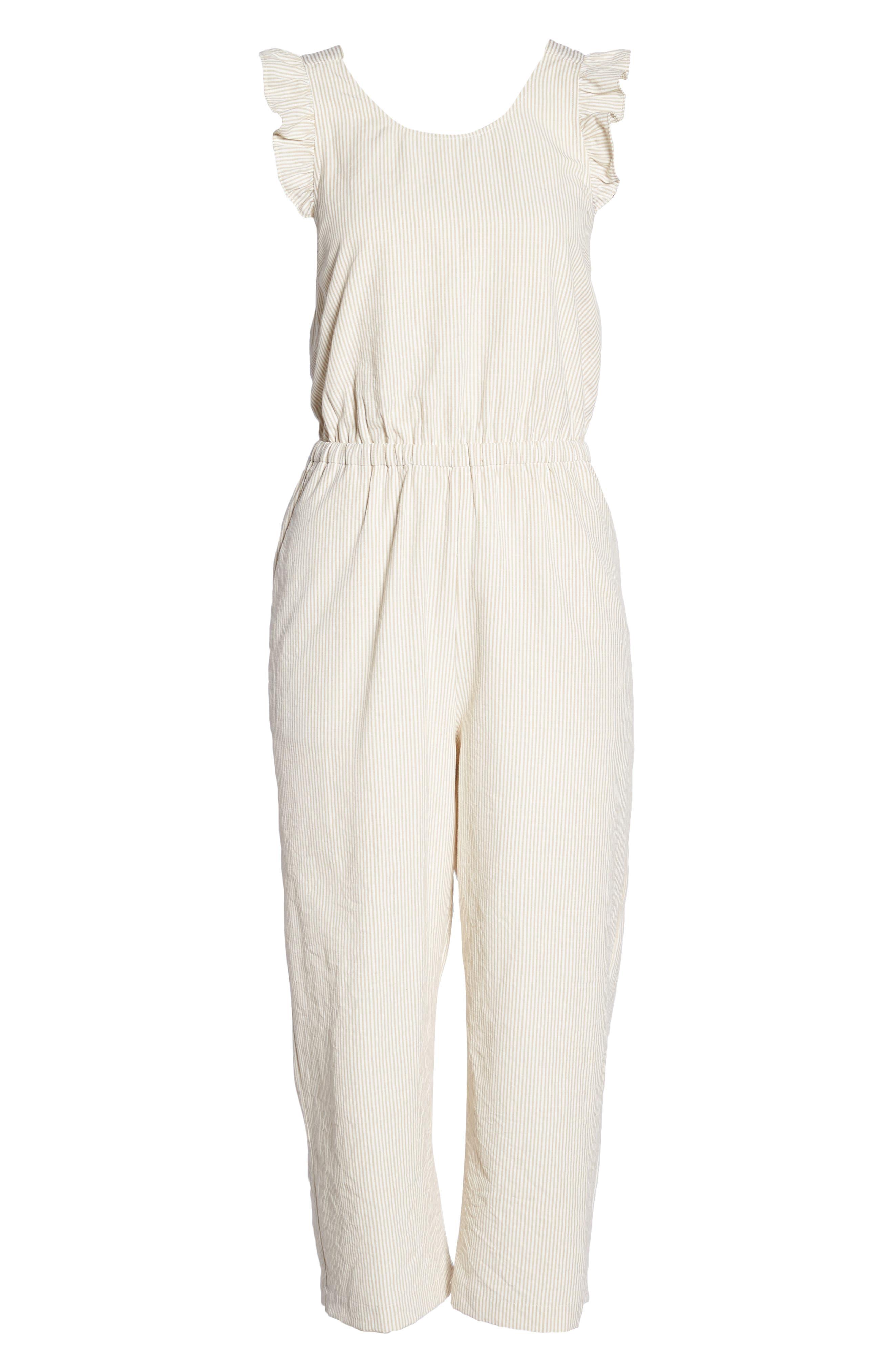 Stripe Ruffle Crop Jumpsuit,                             Alternate thumbnail 7, color,                             White-Oat