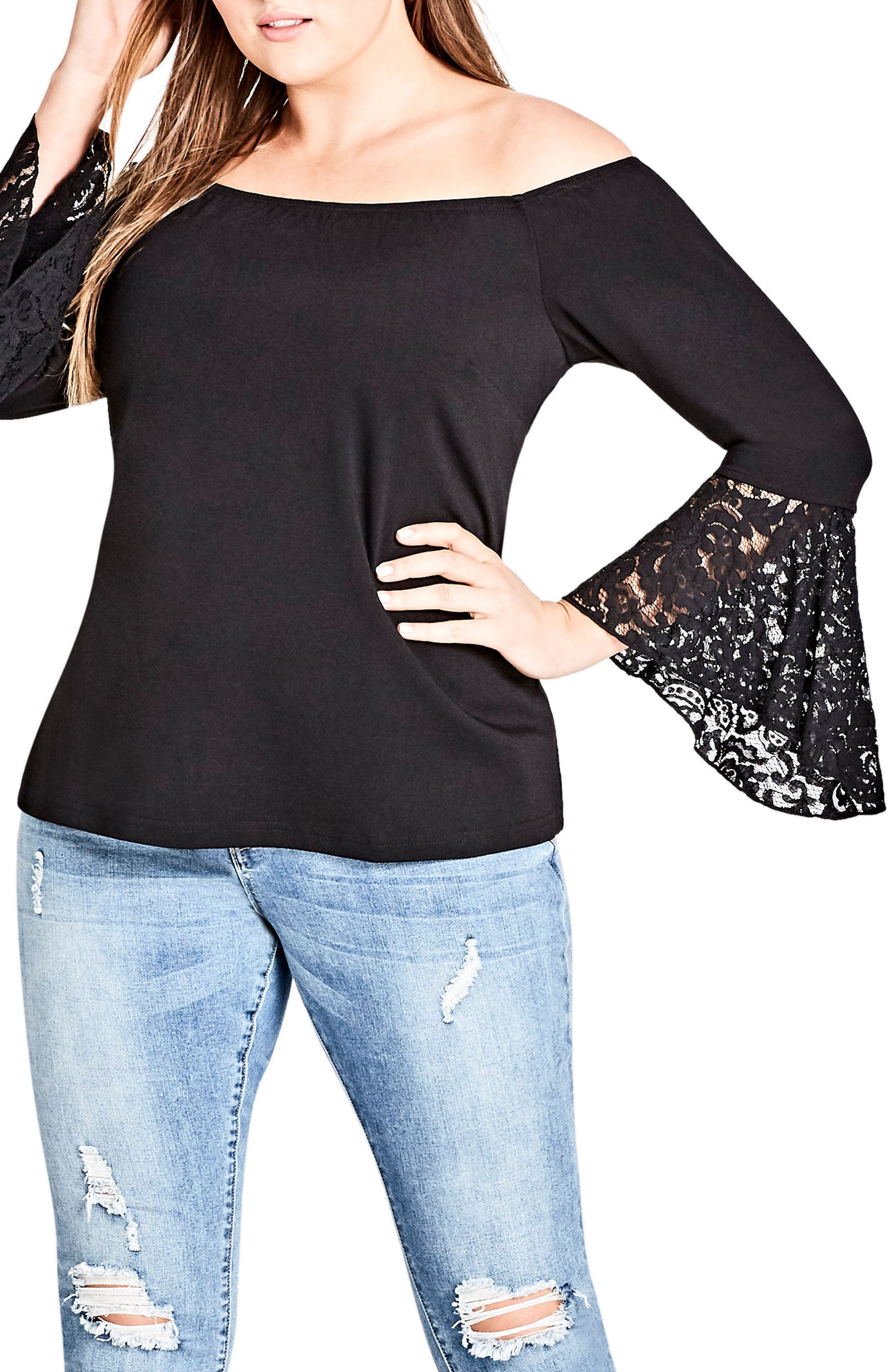 Lace Bell Sleeve Off the Shoulder Top,                         Main,                         color, Black