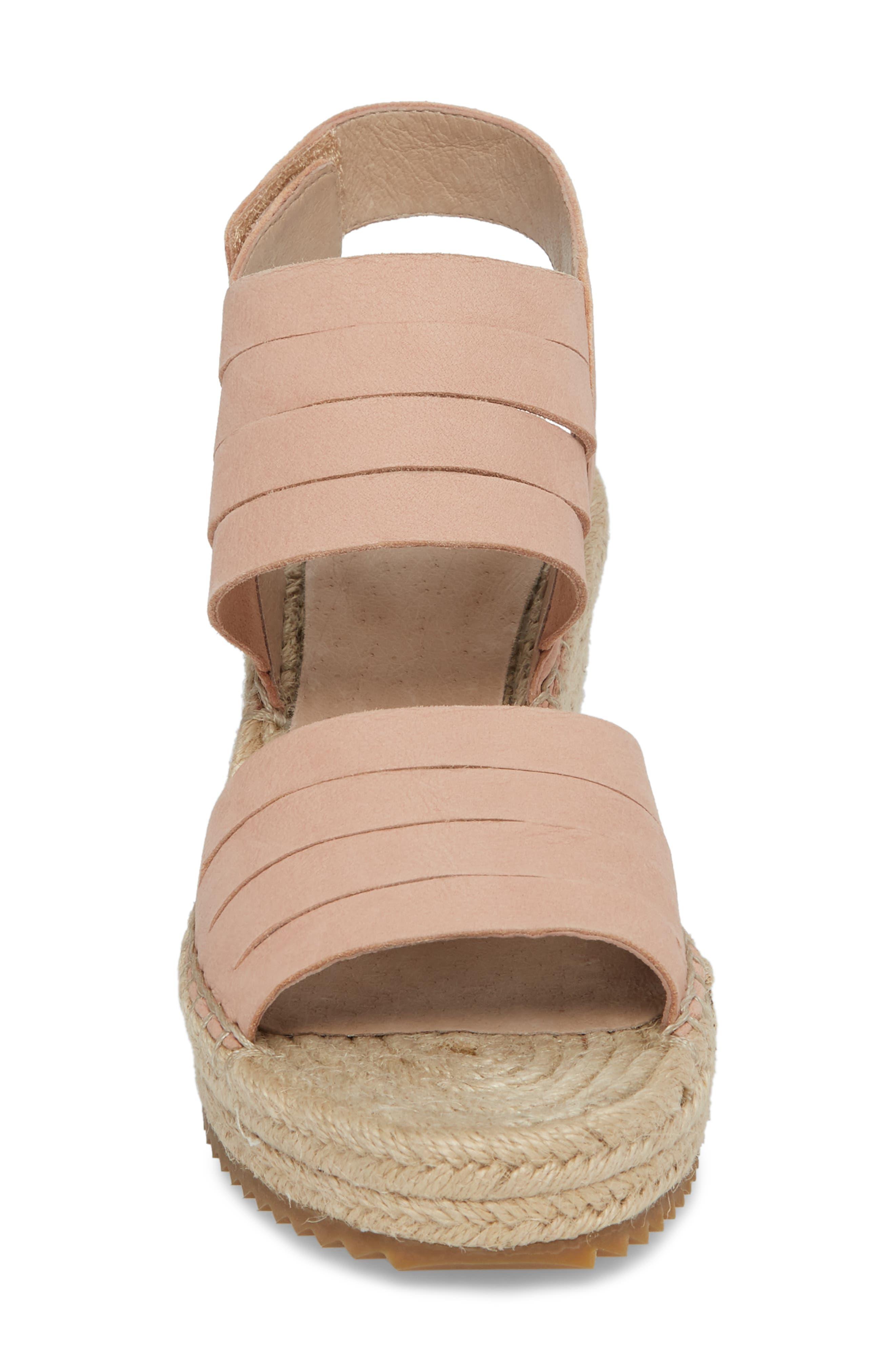 Largo Espadrille Wedge Sandal,                             Alternate thumbnail 4, color,                             Toffee Cream Nubuck