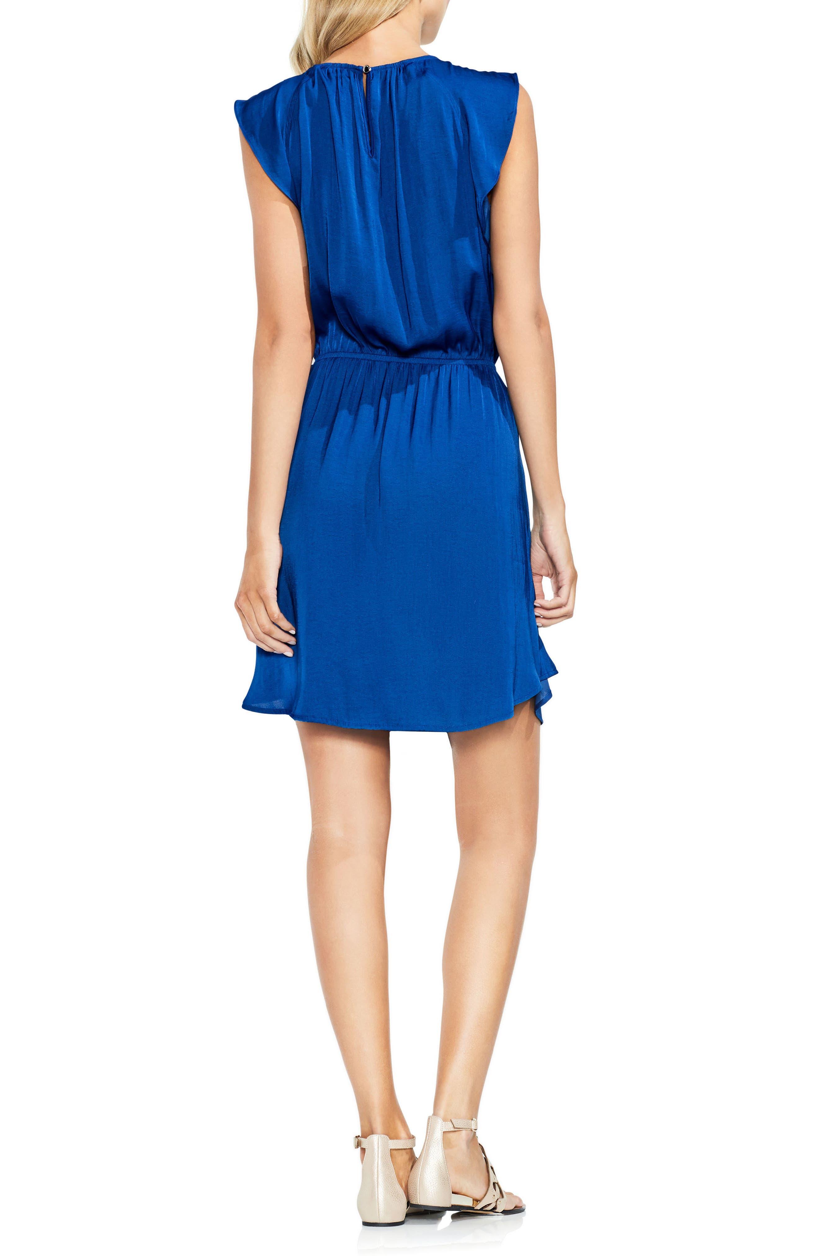 Tie Waist Rumple Mini Dress,                             Alternate thumbnail 2, color,                             Amalfi