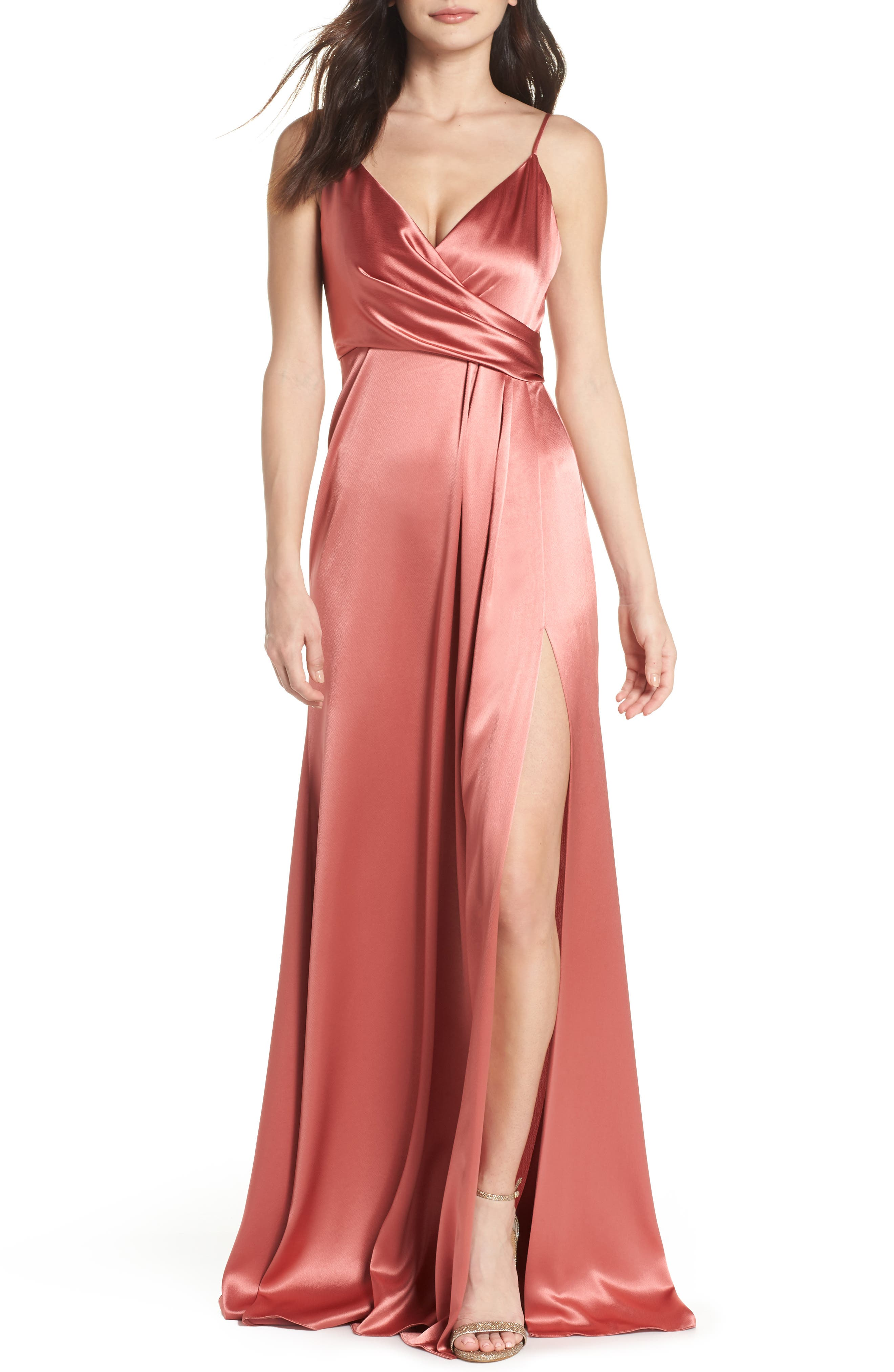 Faux Wrap Satin Gown,                         Main,                         color, Rosewood
