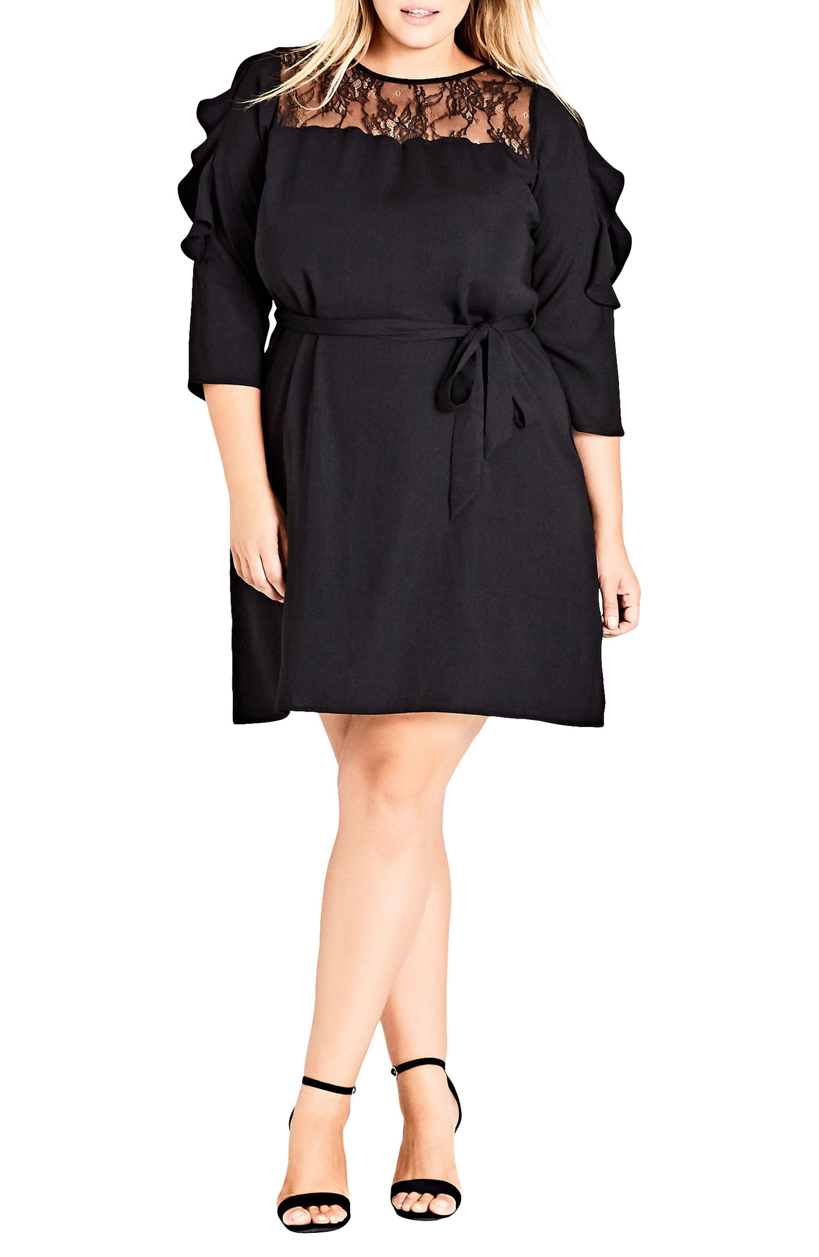 Fancy Frill Lace Detail A-Line Dress,                             Main thumbnail 1, color,                             Black