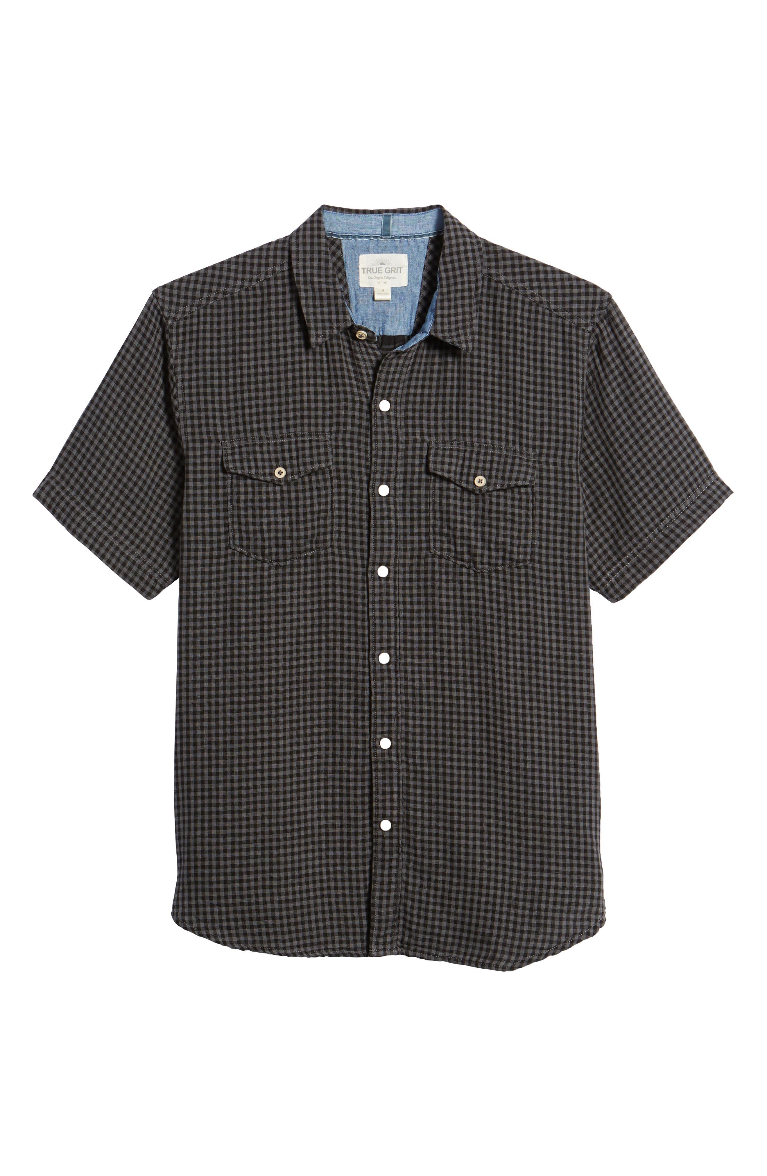 Soho Gingham Sport Shirt,                             Alternate thumbnail 6, color,                             Black Charcoal
