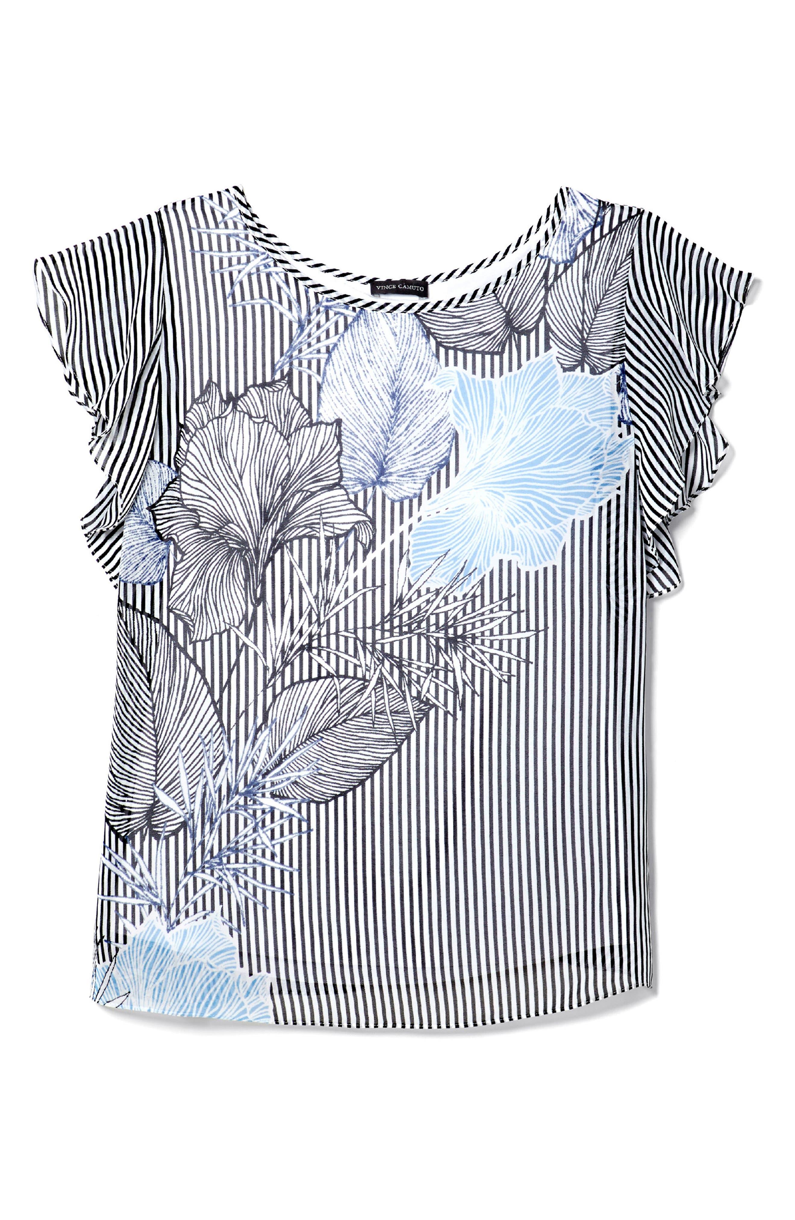 Flutter Sleeved Etched Floral Stripe Top,                             Alternate thumbnail 3, color,                             Rich Black