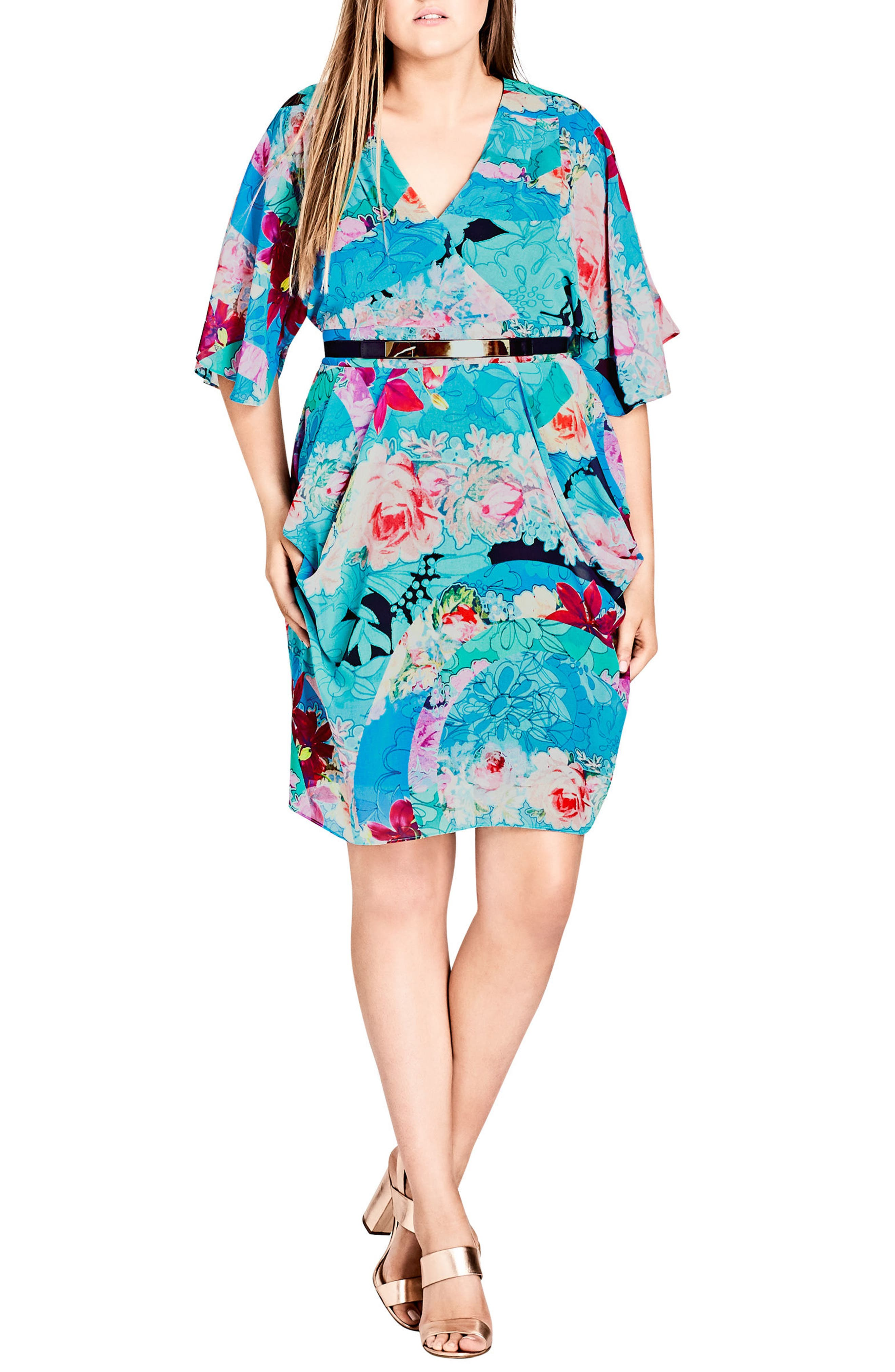 Graphic Wrap Dress,                             Main thumbnail 1, color,                             Looking Glass