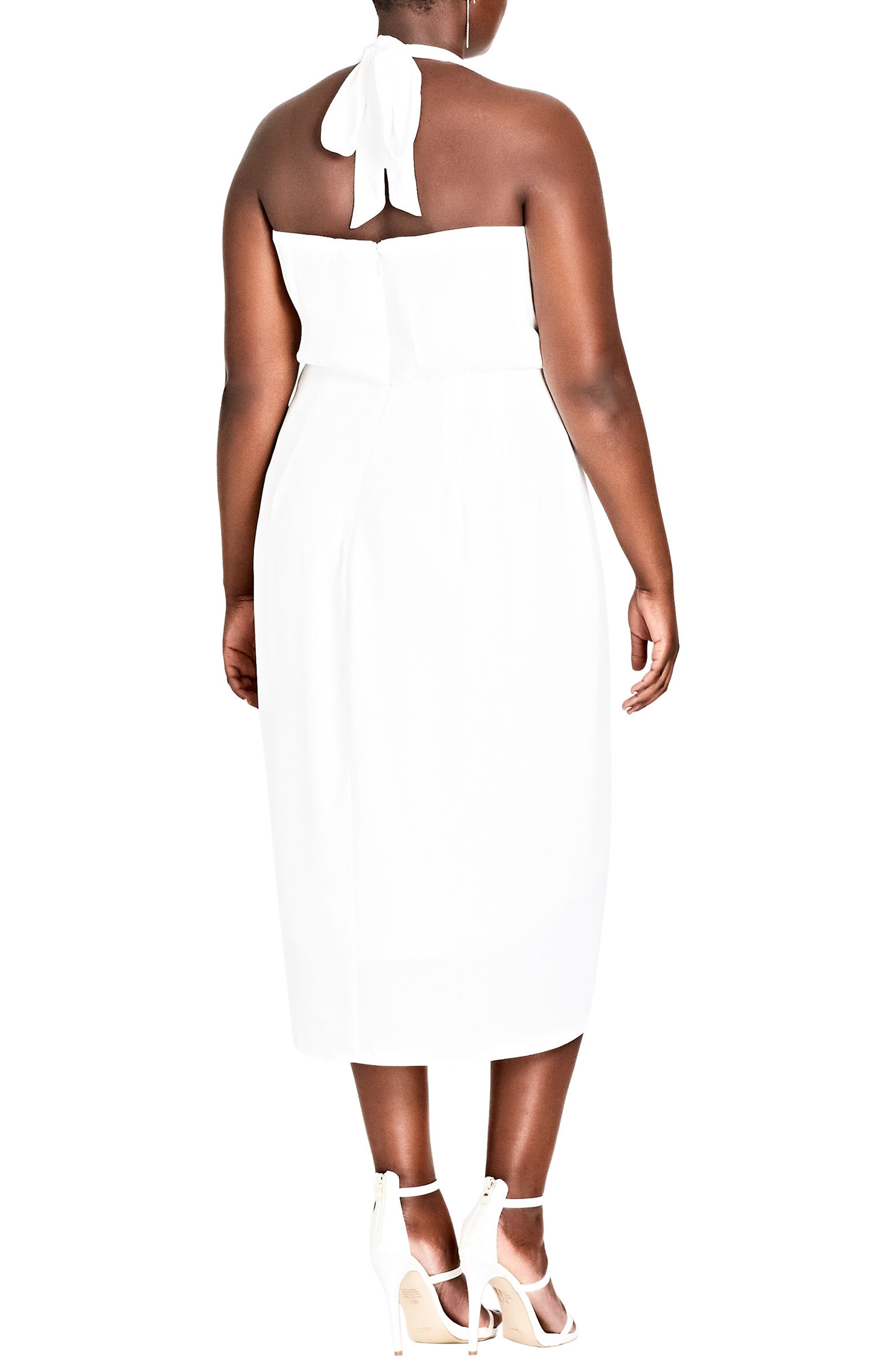 Romance Blouson Halter Dress,                             Alternate thumbnail 2, color,                             Ivory