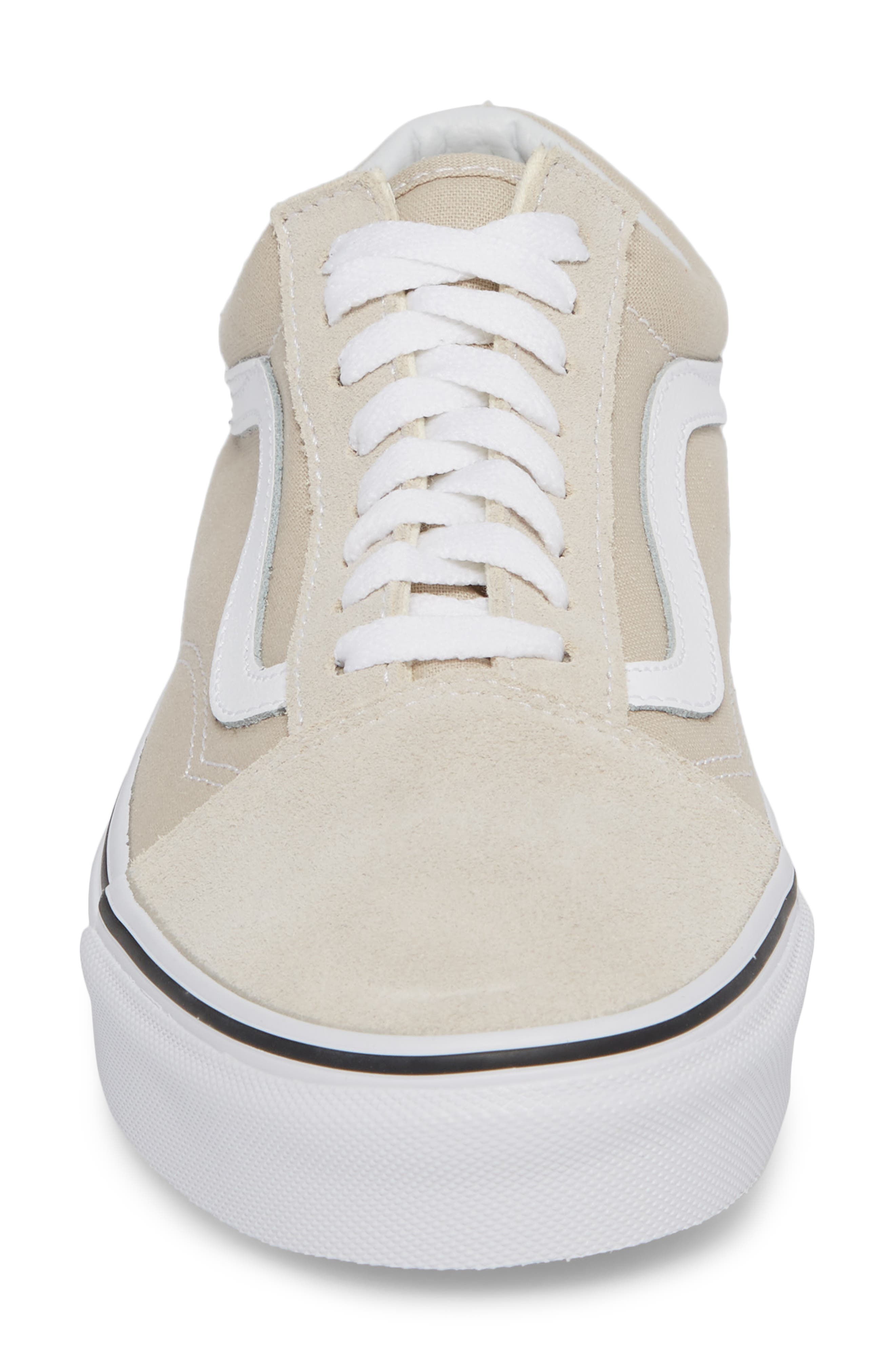 Old Skool Low Top Sneaker,                             Alternate thumbnail 4, color,                             Silver Lining/ White Leather