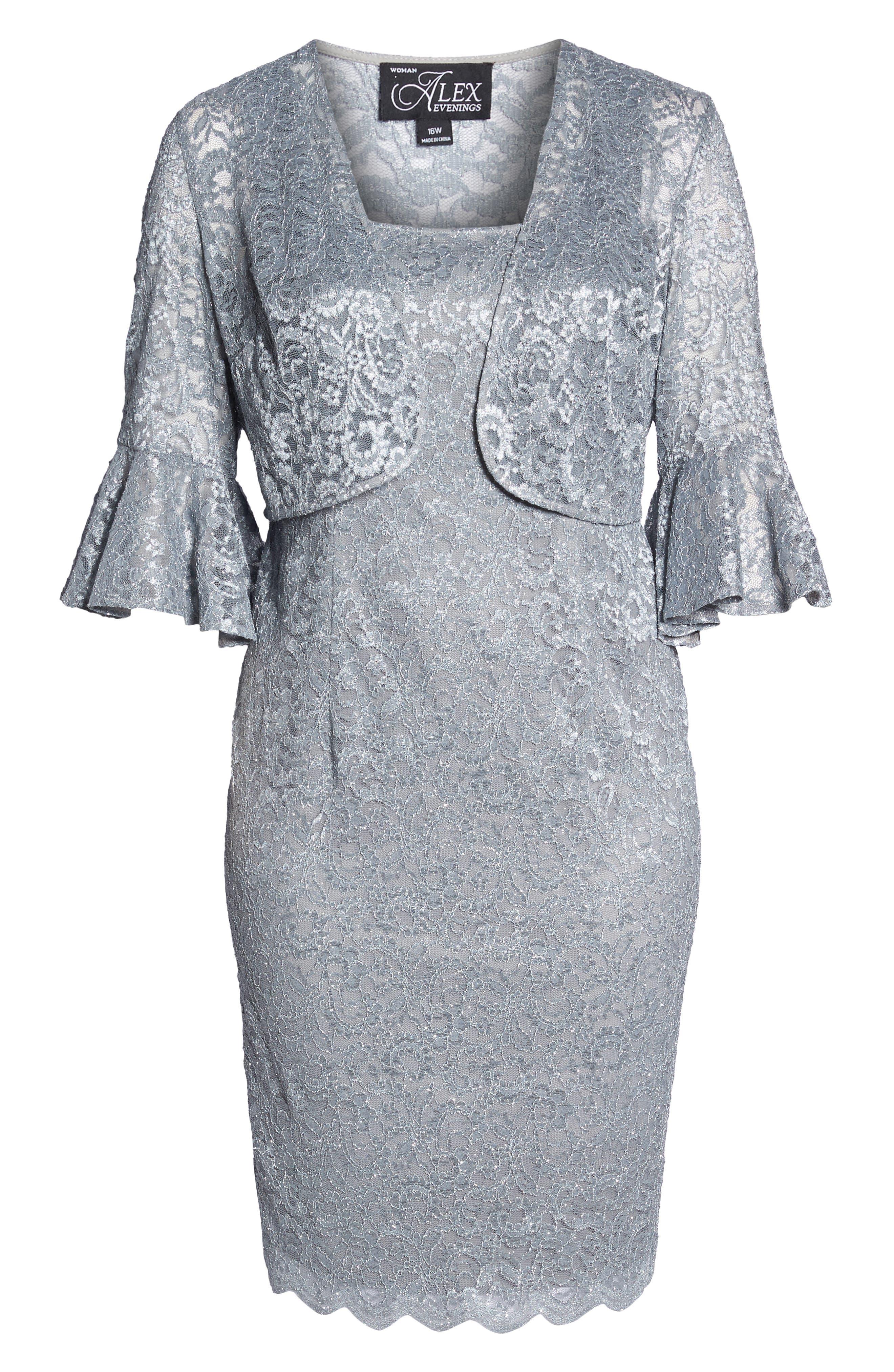 Lace Sheath Dress with Bolero Jacket,                             Alternate thumbnail 6, color,                             Silver