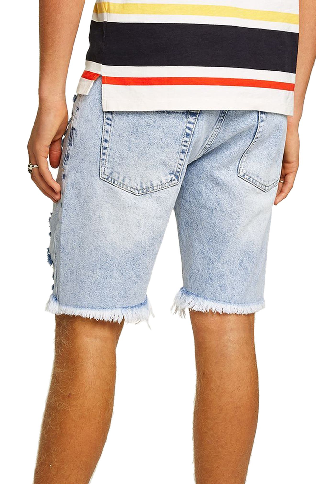 Slim Fit Ripped Denim Shorts,                             Alternate thumbnail 2, color,                             Light Blue