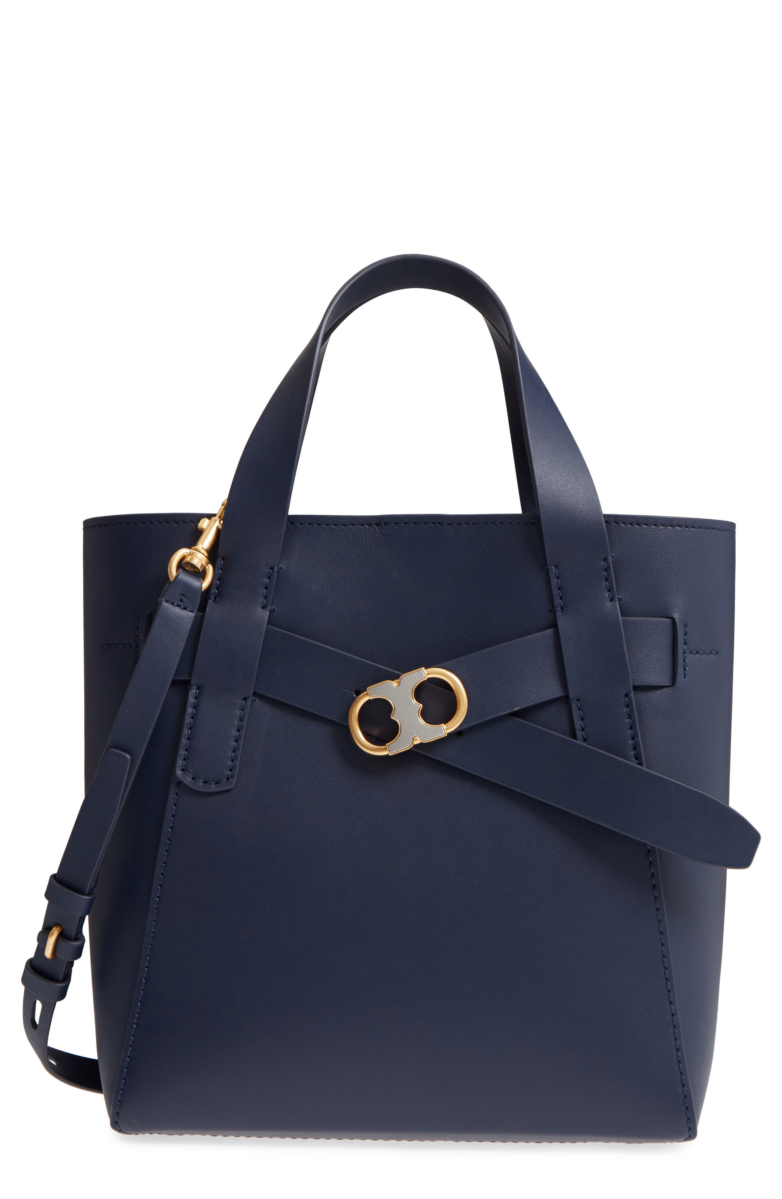 Small Gemini Link Leather Tote,                         Main,                         color, Royal Navy