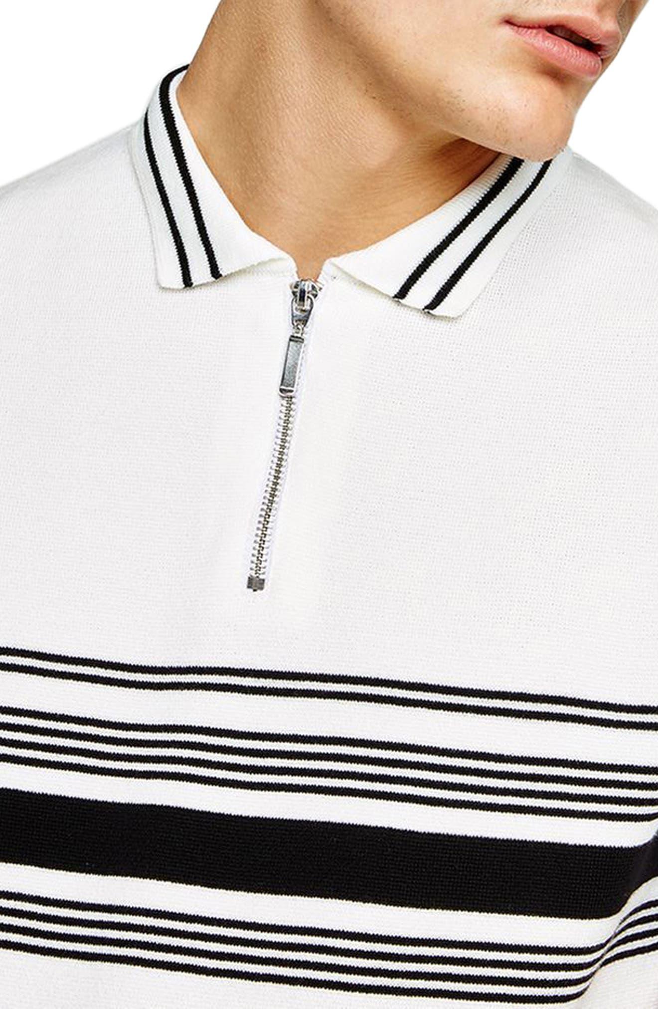 Slim Fit Stripe Knit Polo,                             Alternate thumbnail 3, color,                             White Multi