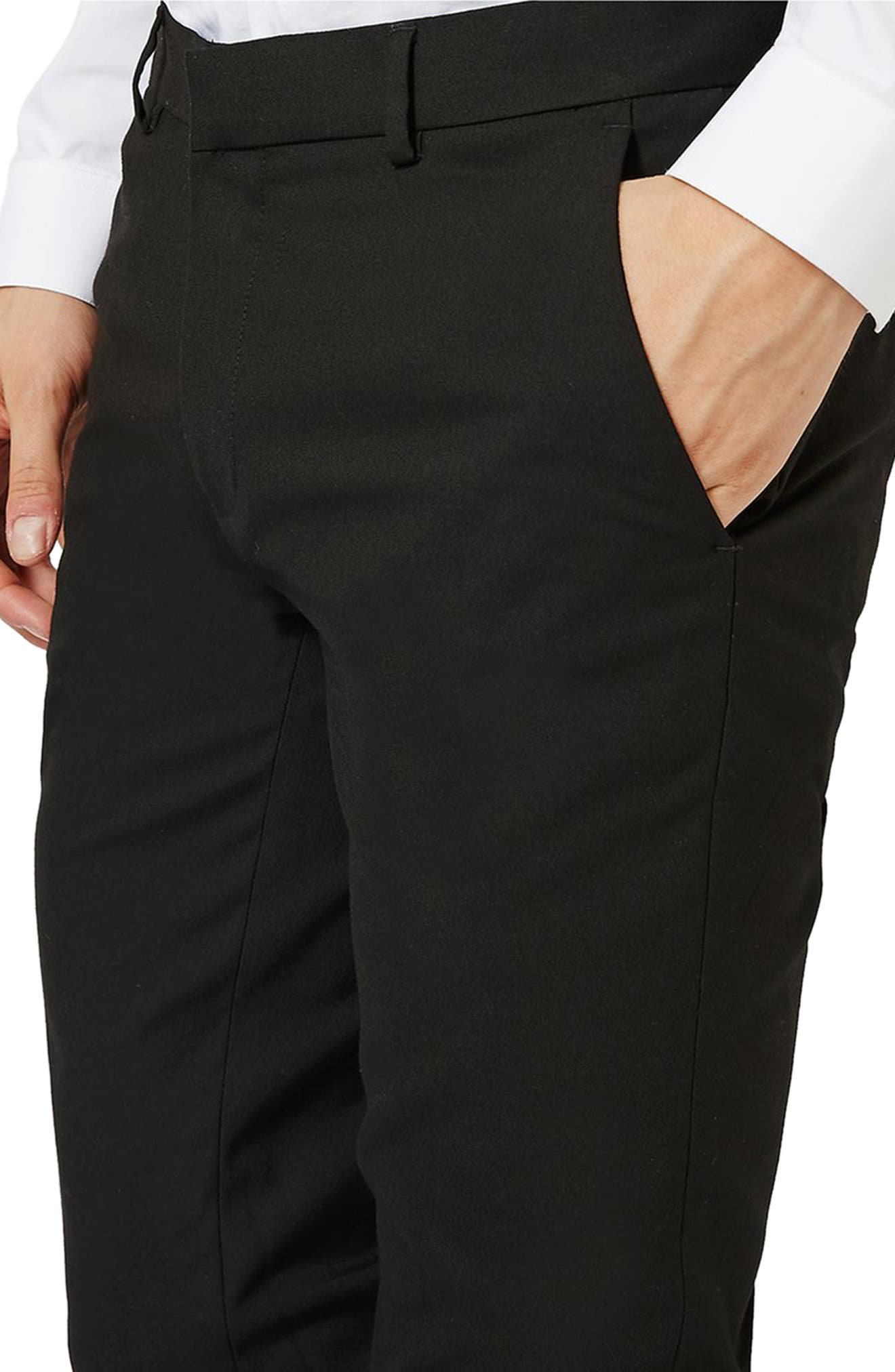 Skinny Fit Pants,                             Alternate thumbnail 3, color,                             Black
