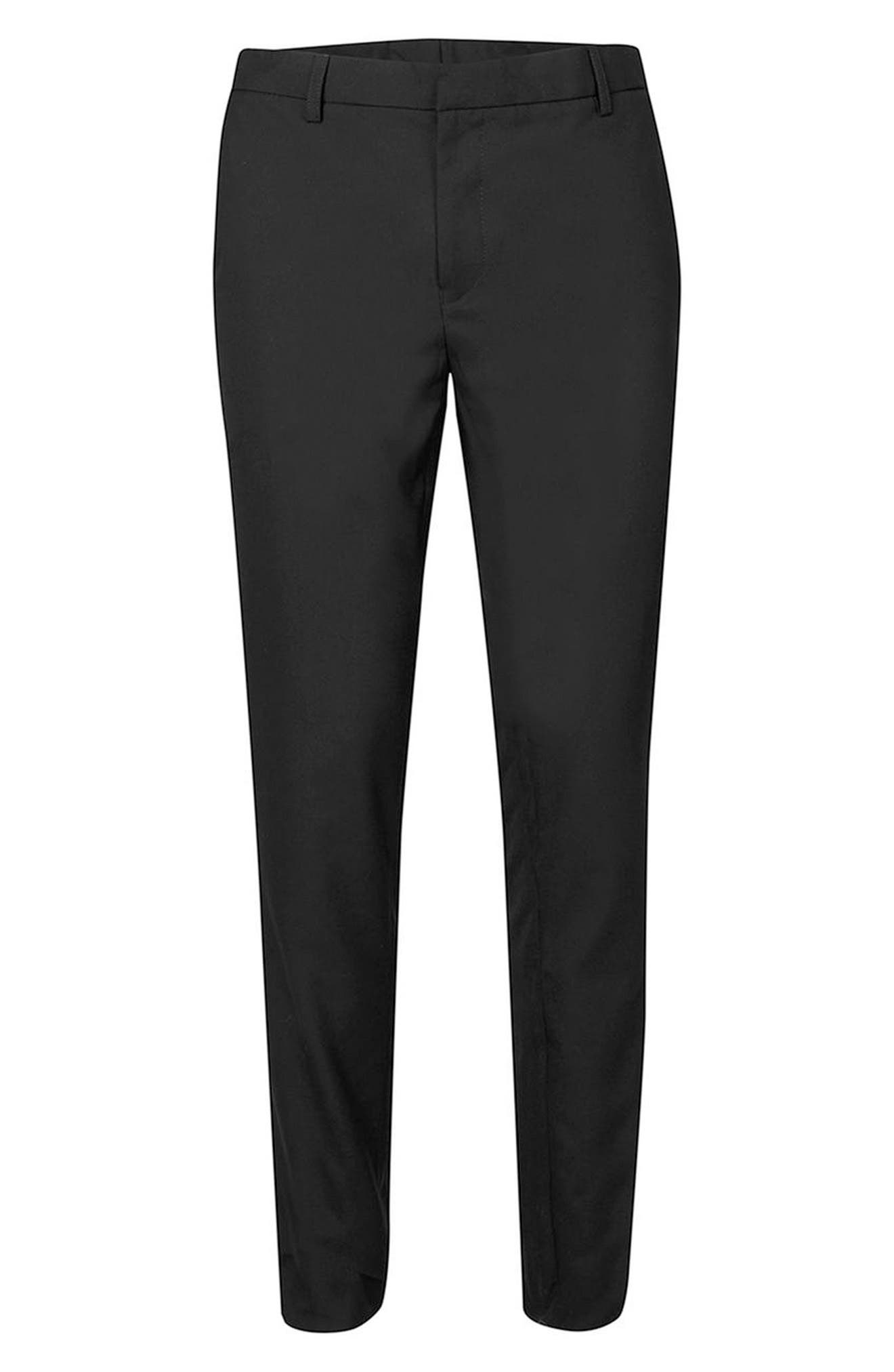 Skinny Fit Pants,                             Alternate thumbnail 4, color,                             Black