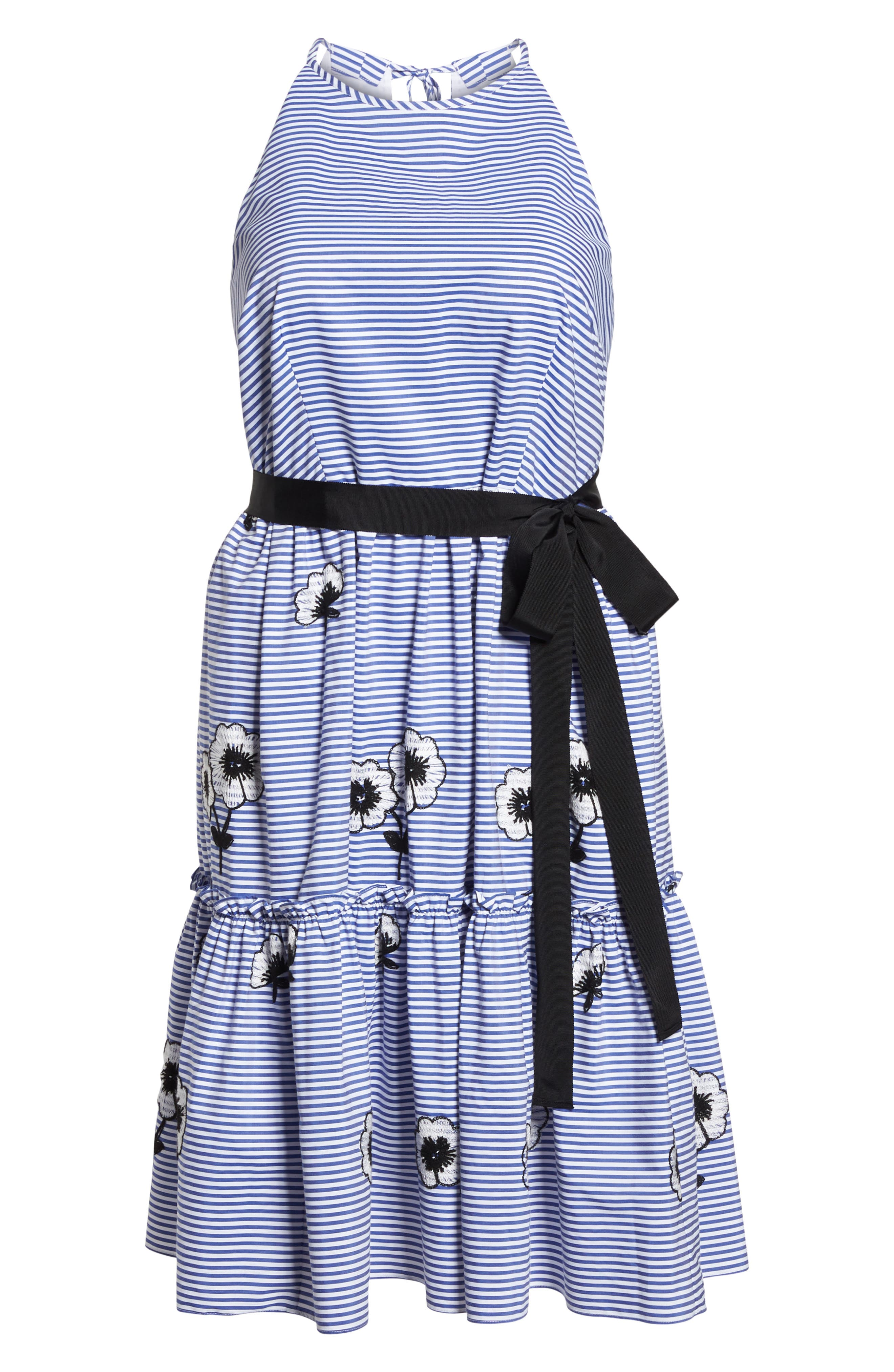 Embroidered Stripe Fit & Flare Dress,                             Alternate thumbnail 6, color,                             Blue/ White