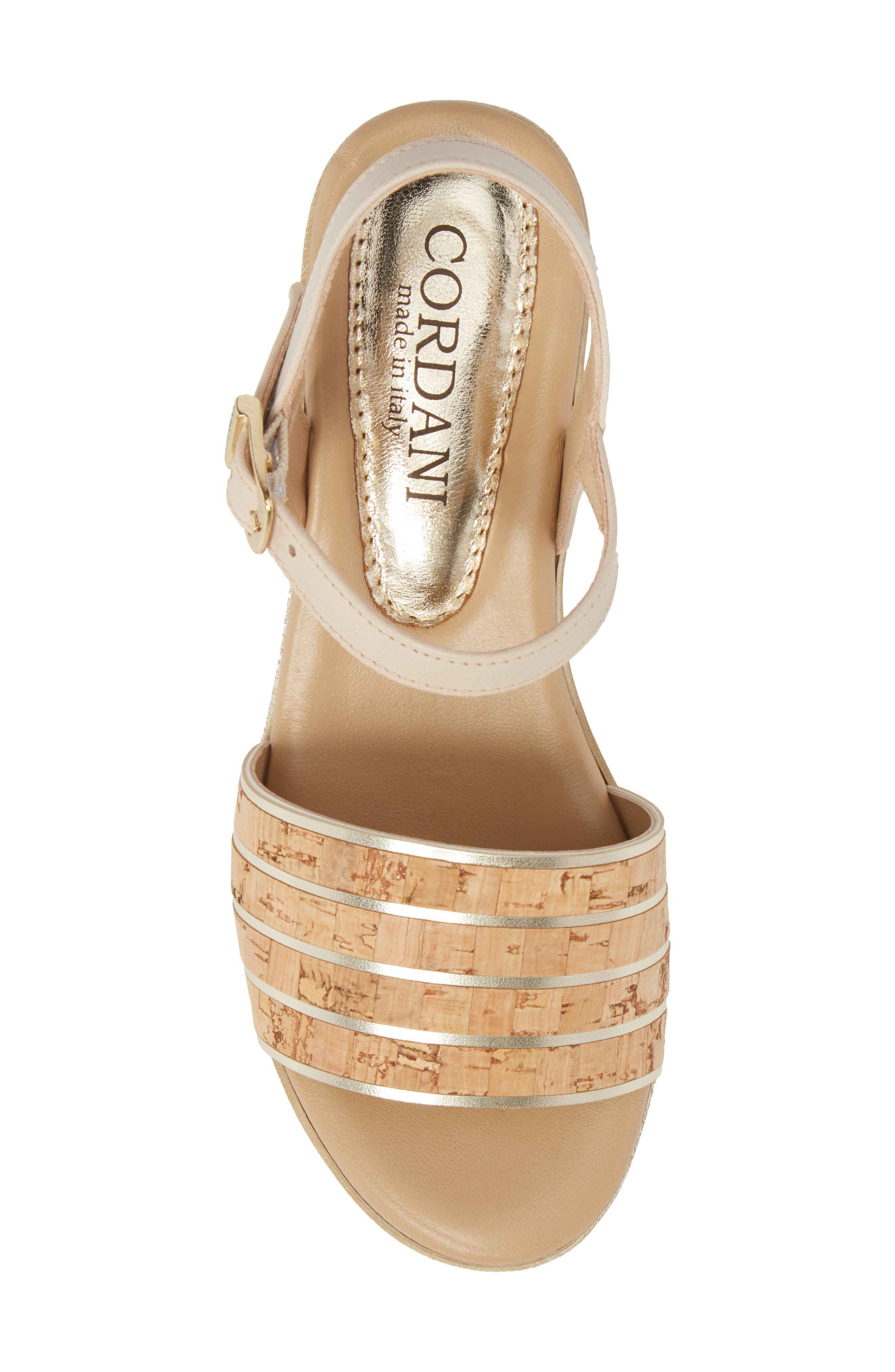 Jaida Platform Wedge Sandal,                             Alternate thumbnail 5, color,                             Cork/ Gold