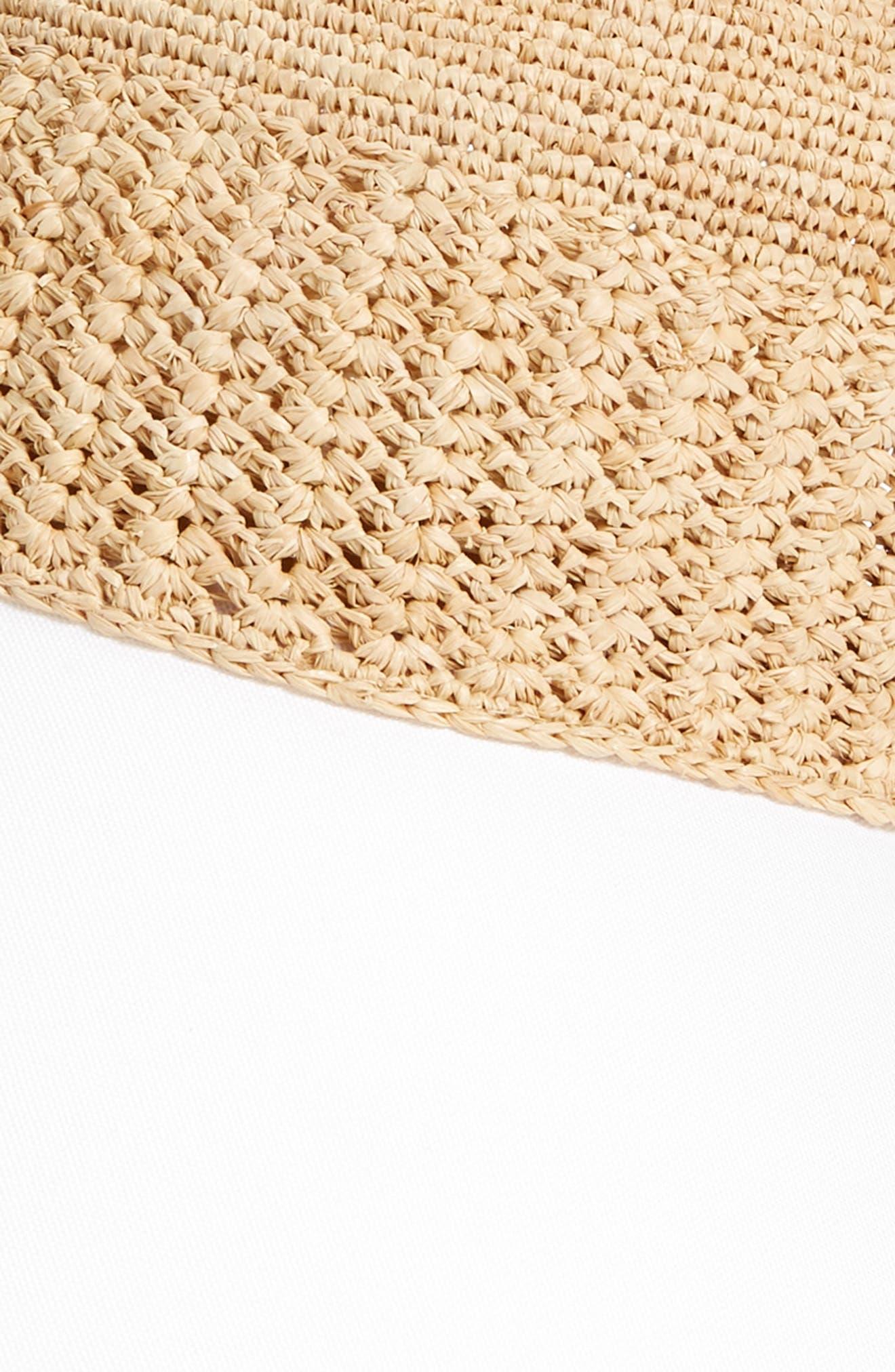 Wide Peak Raffia & Cotton Cap,                             Alternate thumbnail 2, color,                             Natural/ White