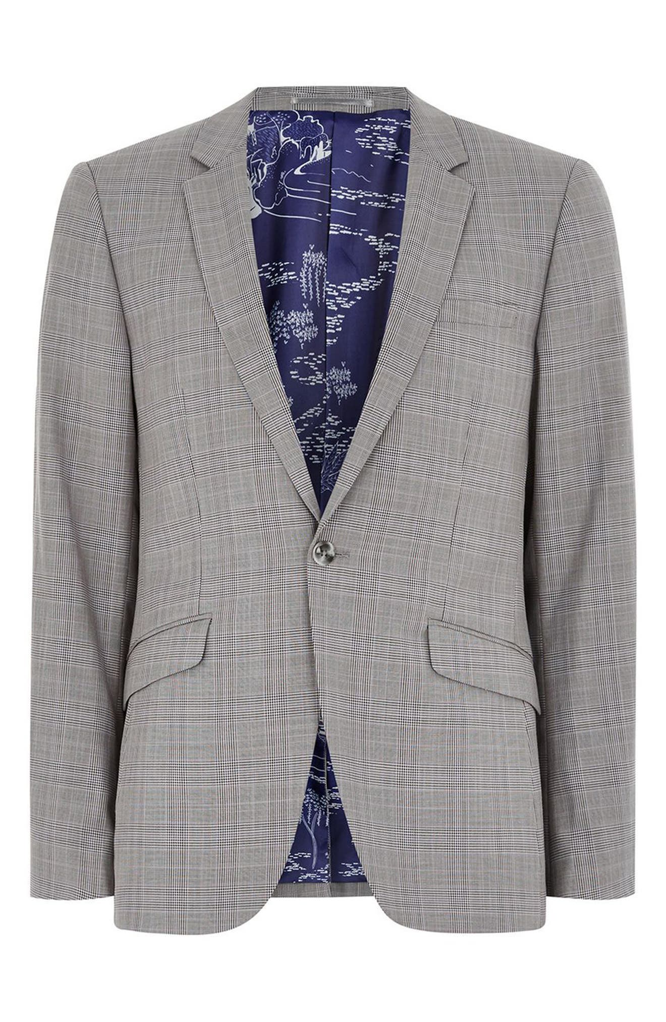 Skinny Fit Check Suit Jacket,                             Alternate thumbnail 4, color,                             Grey Multi