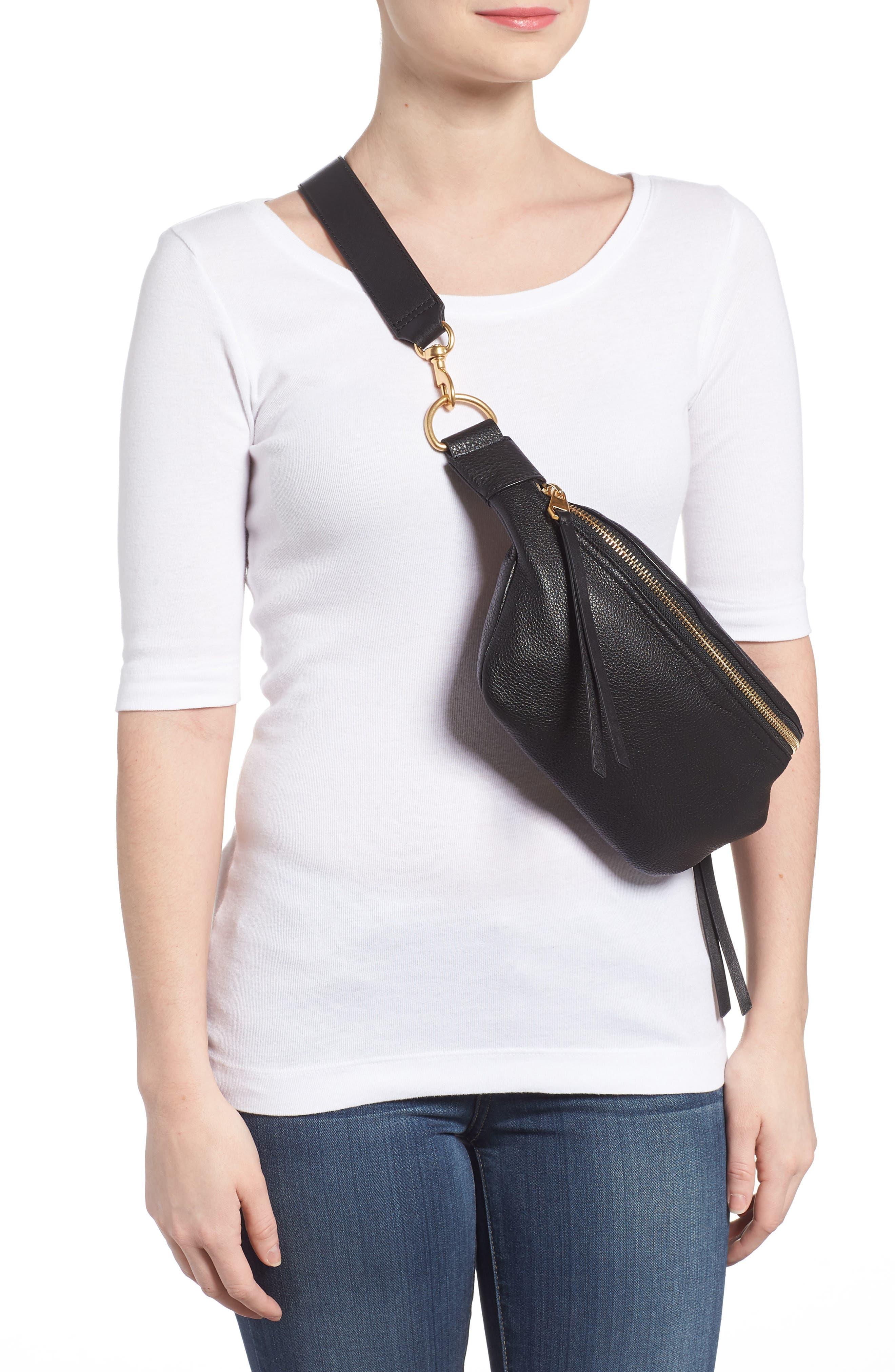 Bree Leather Belt Bag,                             Alternate thumbnail 2, color,                             Black