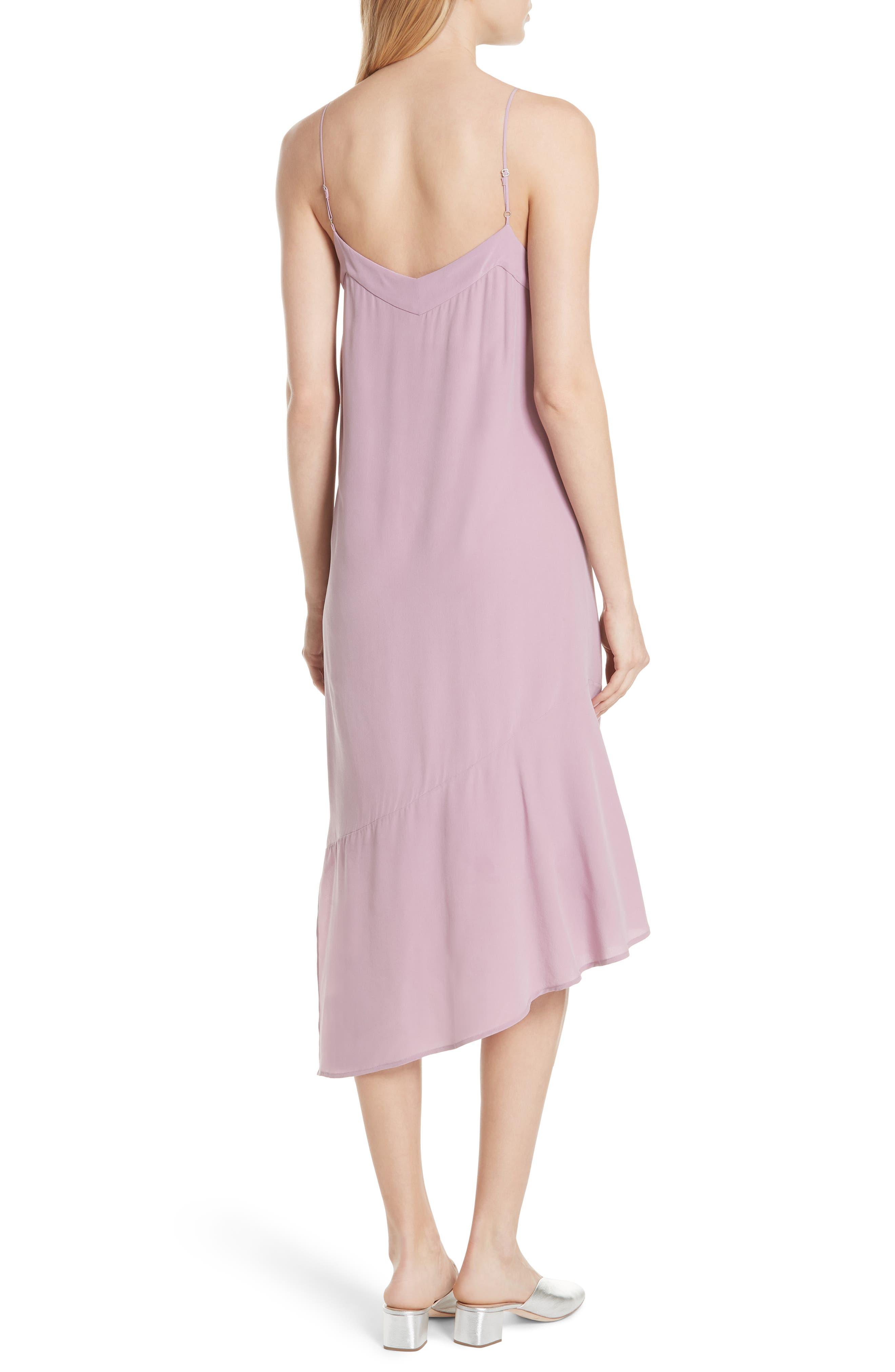 Jada Asymmetrical Silk Slip Dress,                             Alternate thumbnail 2, color,                             Orchid Smoke
