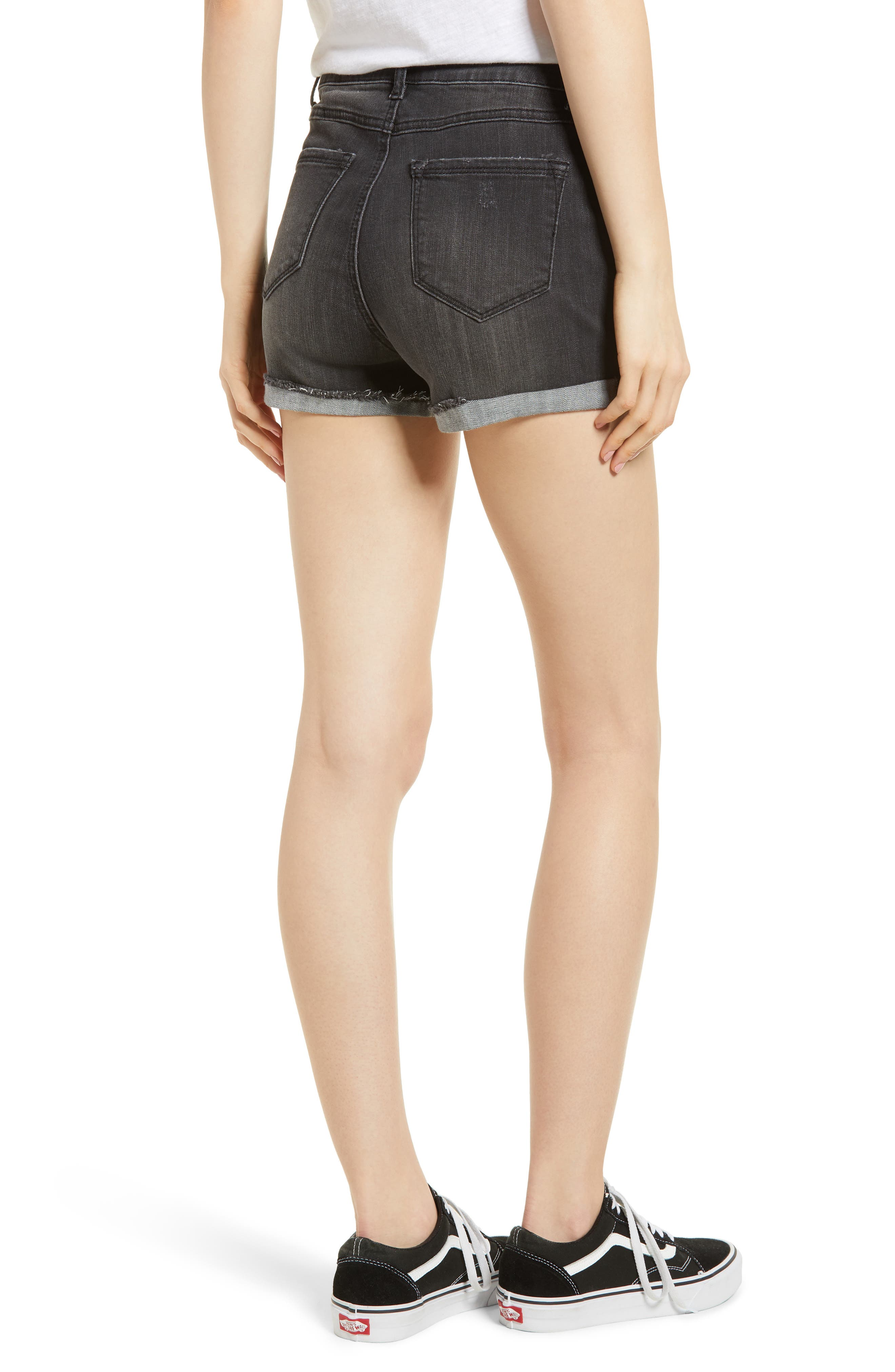 Cuffed Button Fly Denim Shorts,                             Alternate thumbnail 2, color,                             Bentley