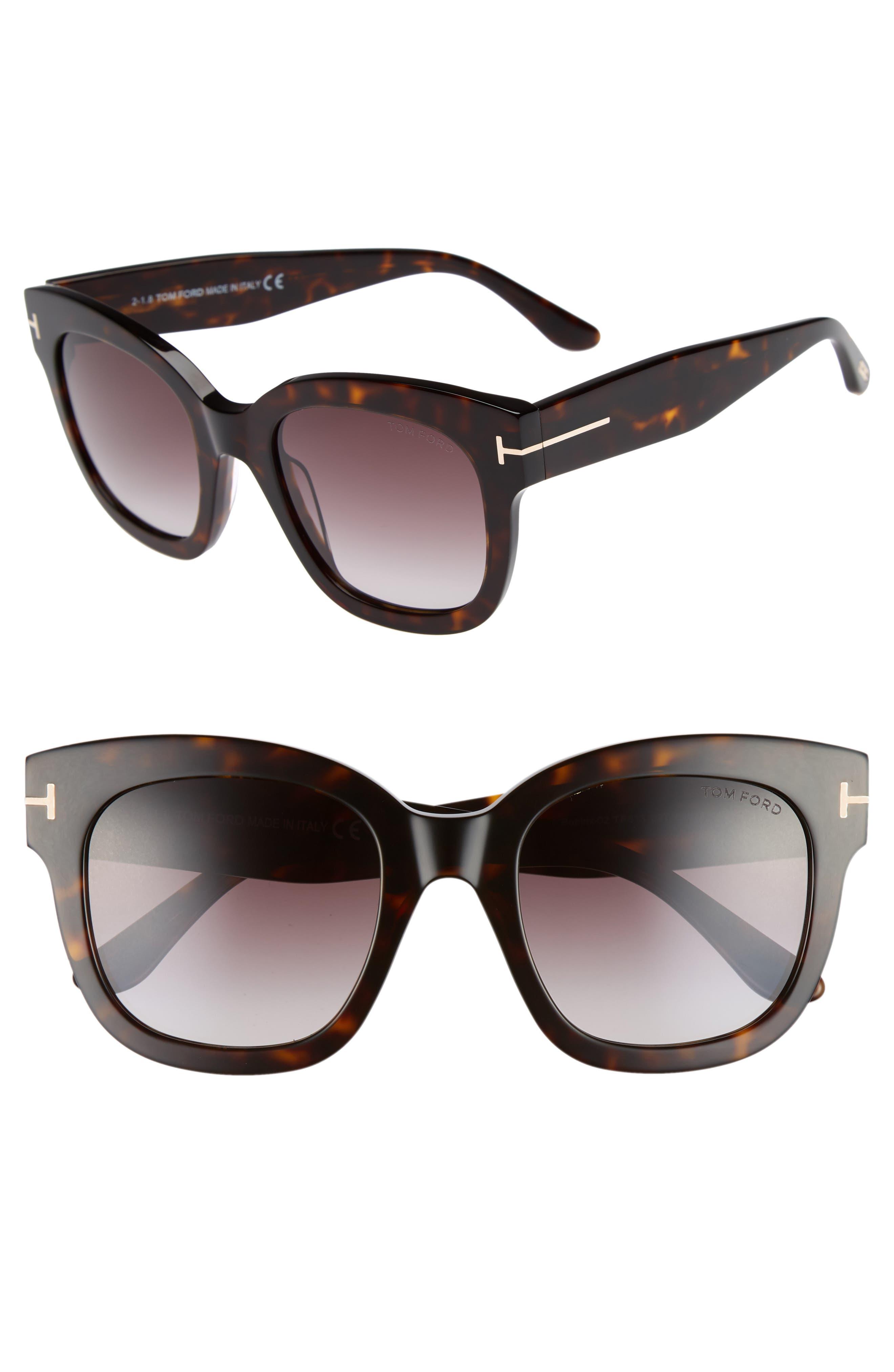 Beatrix 52mm Sunglasses,                         Main,                         color, Dark Havana/ Gradient Bordeaux