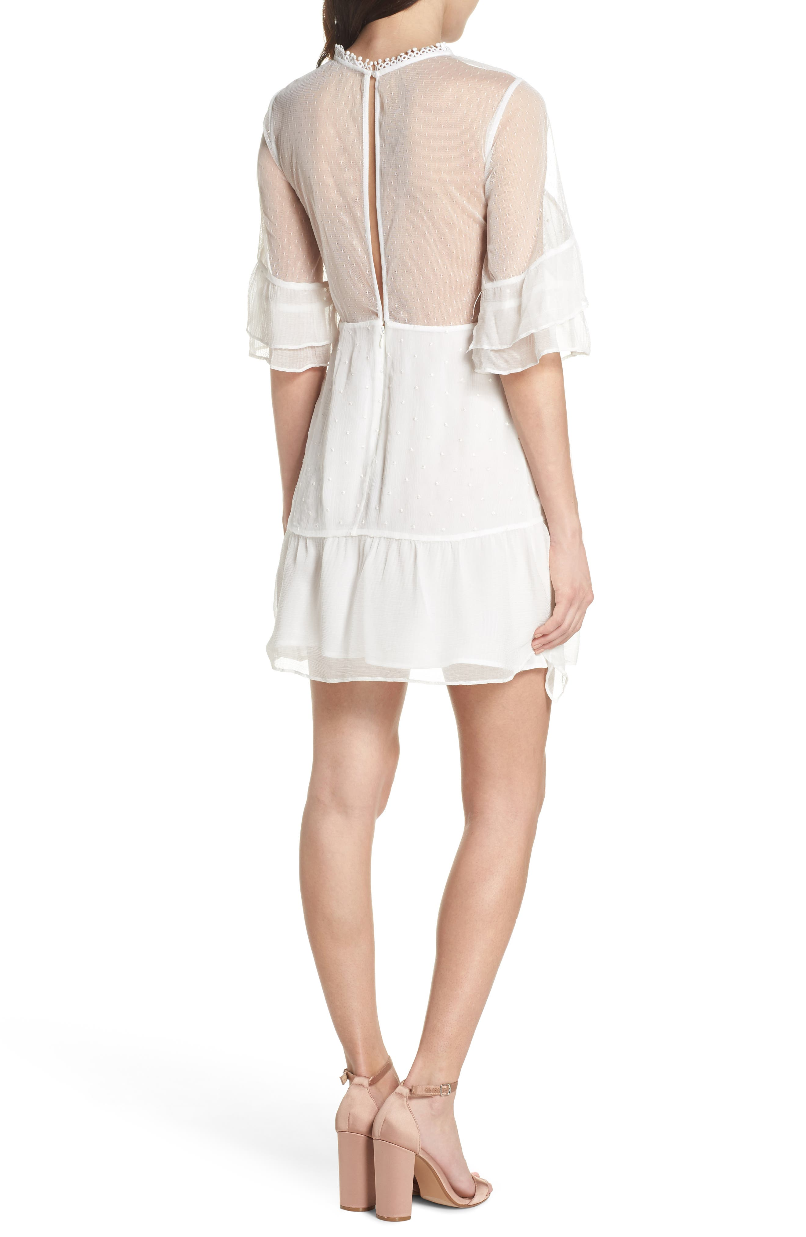 Enchantment Ruffle Chiffon Minidress,                             Alternate thumbnail 2, color,                             White