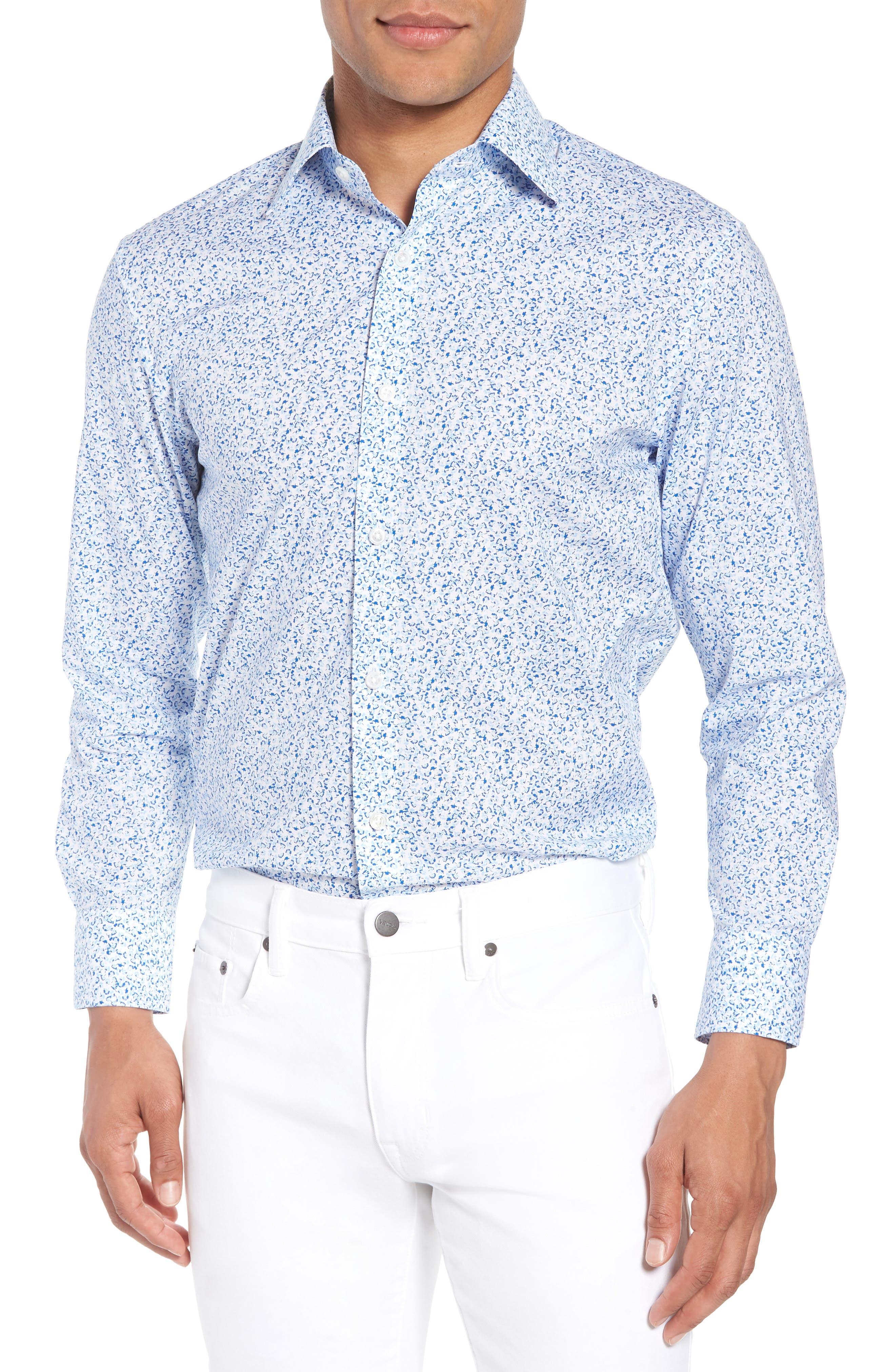 Jetsetter Slim Fit Floral Dress Shirt,                             Main thumbnail 1, color,                             Lapis Blue