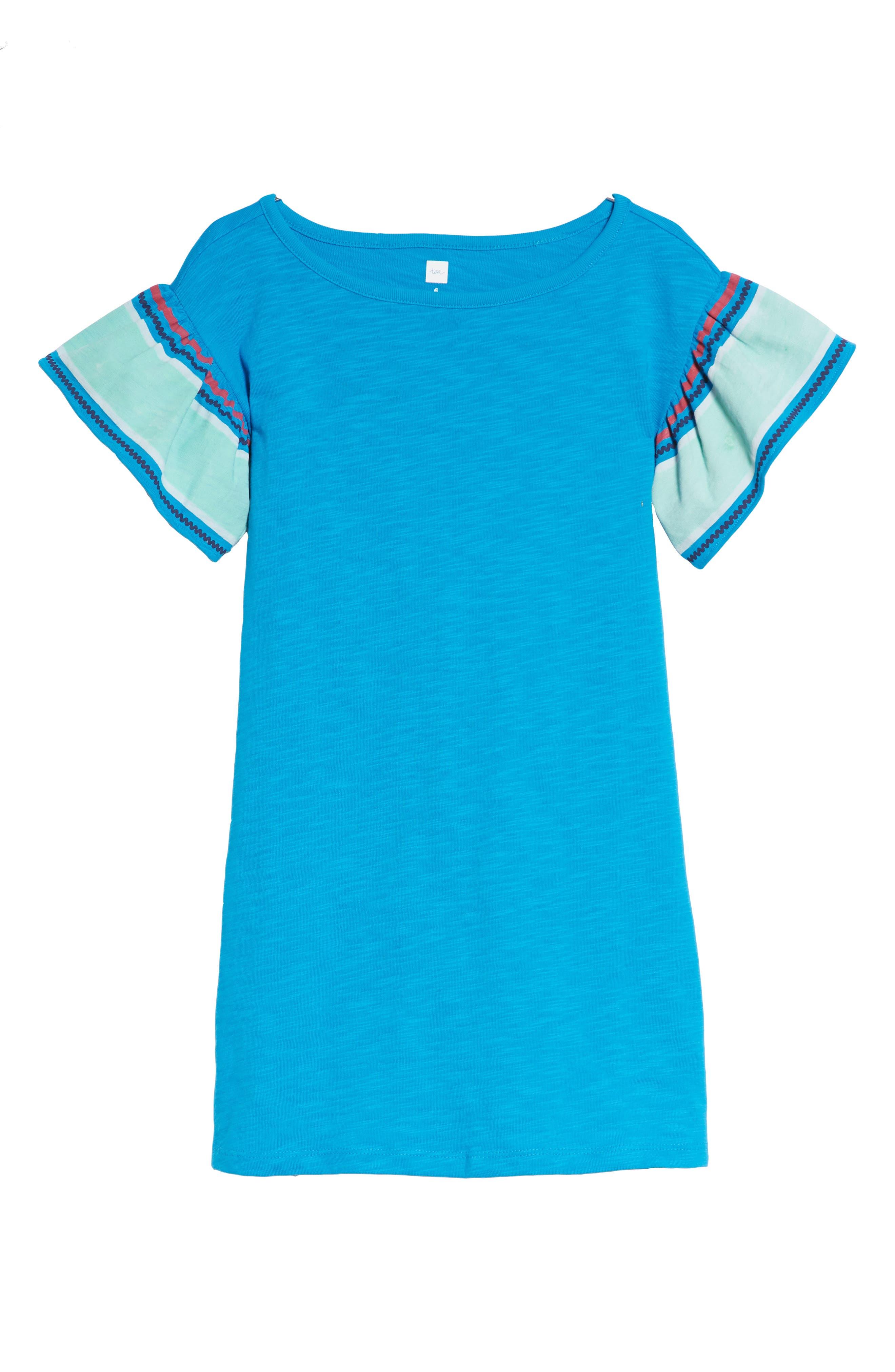 Ruffle Sleeve T-Shirt Dress,                         Main,                         color, Island Blue