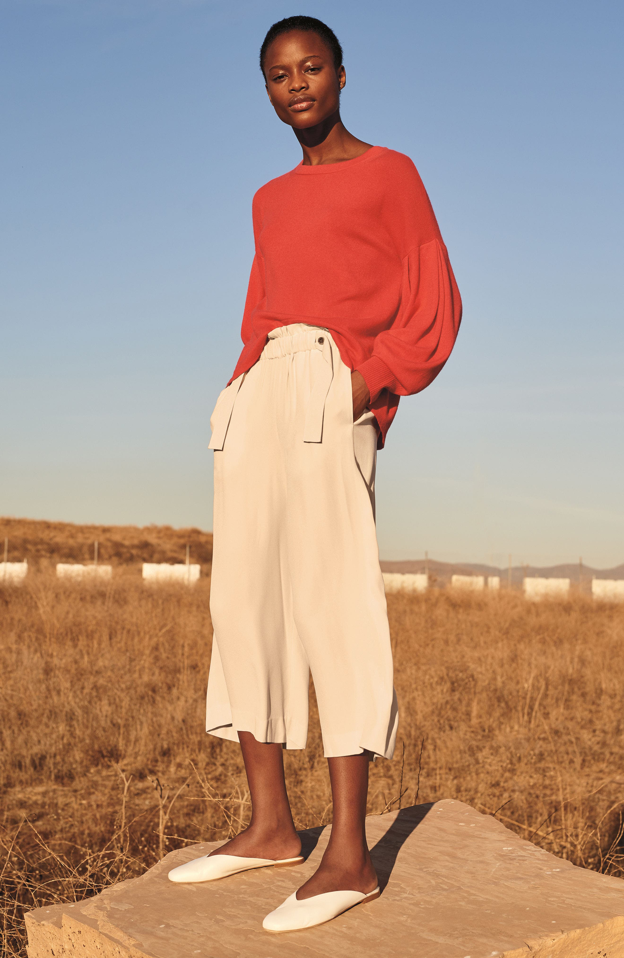 Pleat Sleeve Cashmere Sweater,                             Alternate thumbnail 2, color,                             Poppy