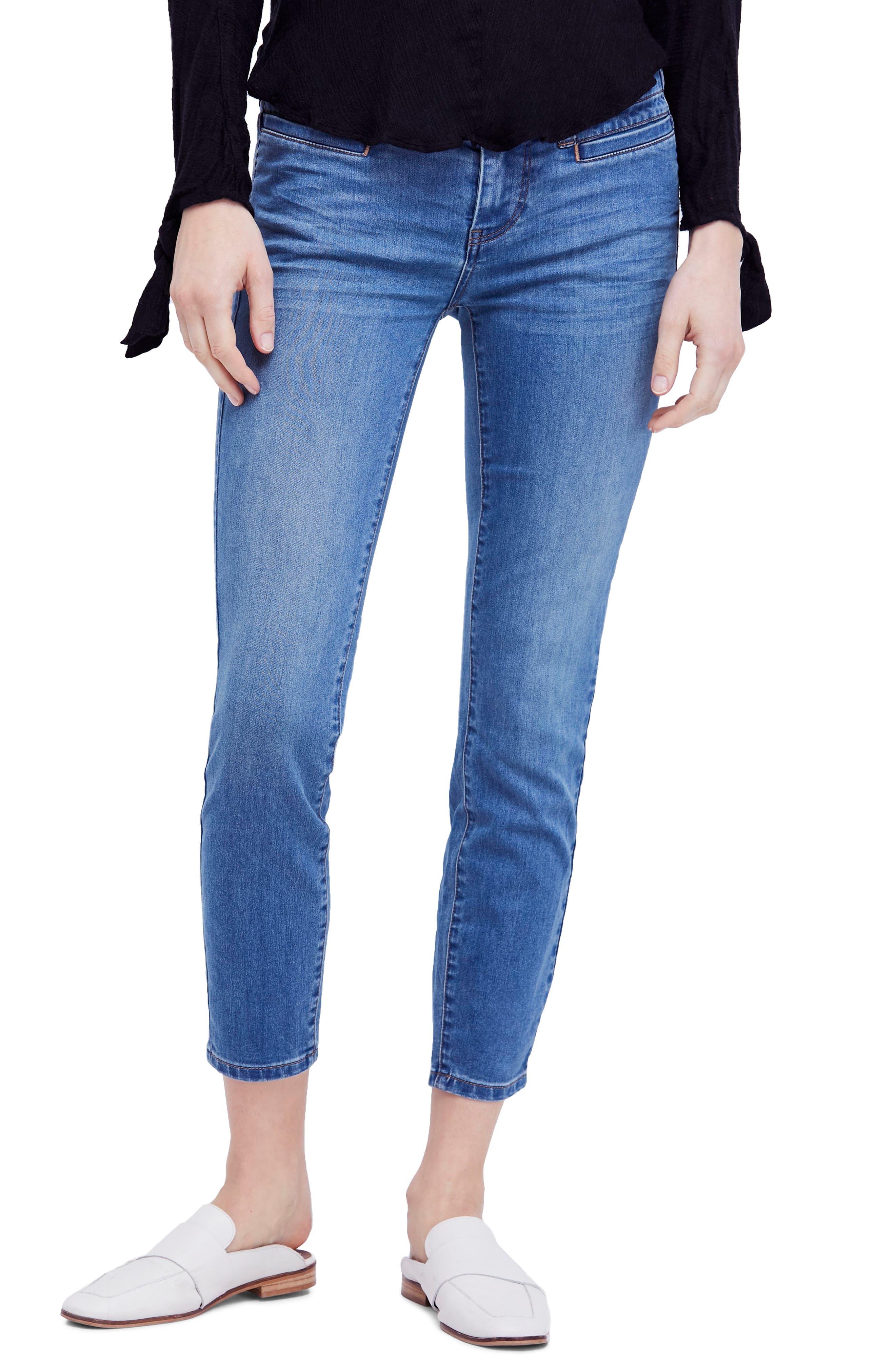 Free People Low Slung Crop Skinny Jeans