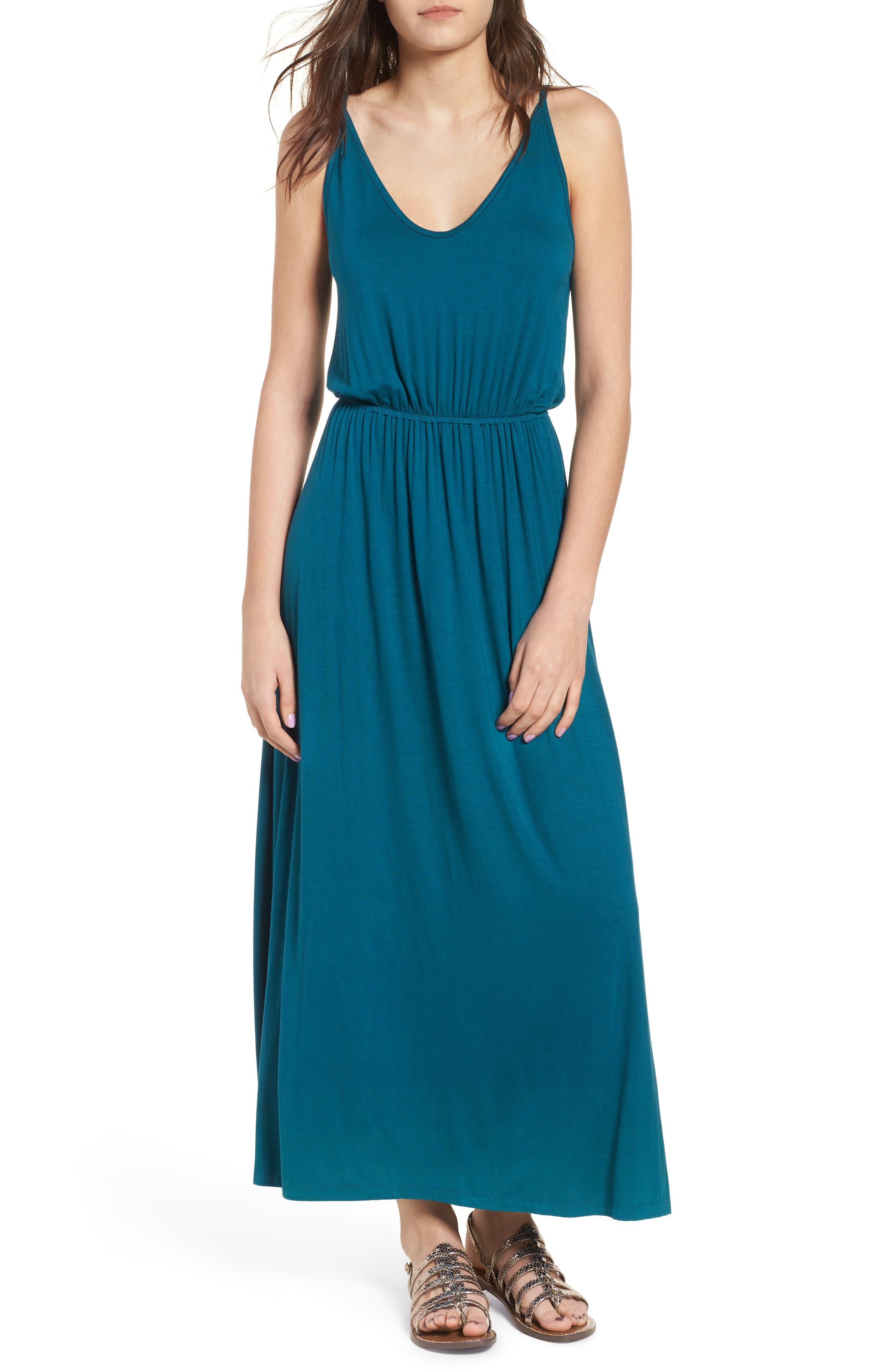 V-Neck Maxi Dress,                         Main,                         color, Teal Hydro