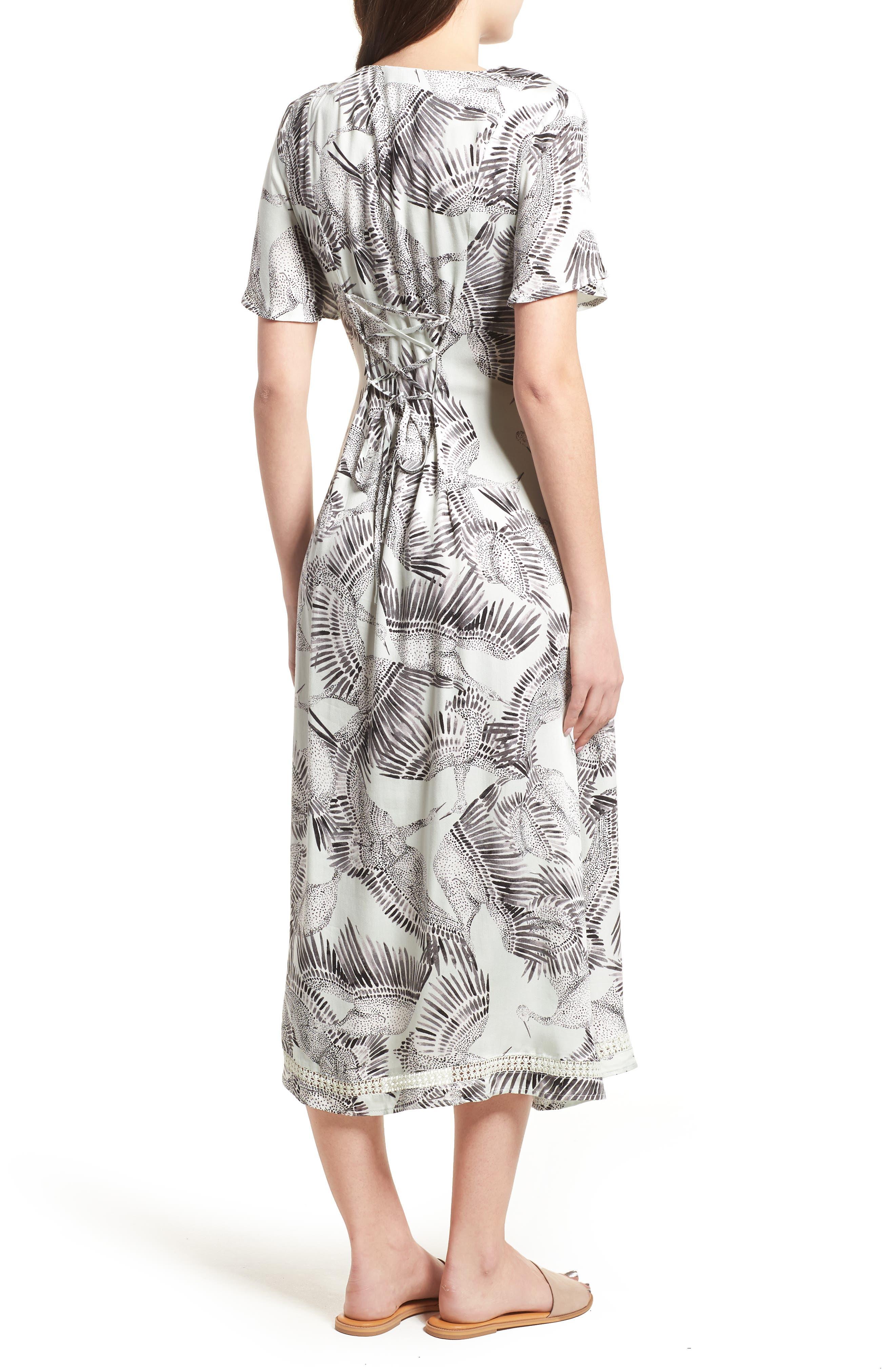 Taking Flight Midi Dress,                             Alternate thumbnail 3, color,                             Multi Grey