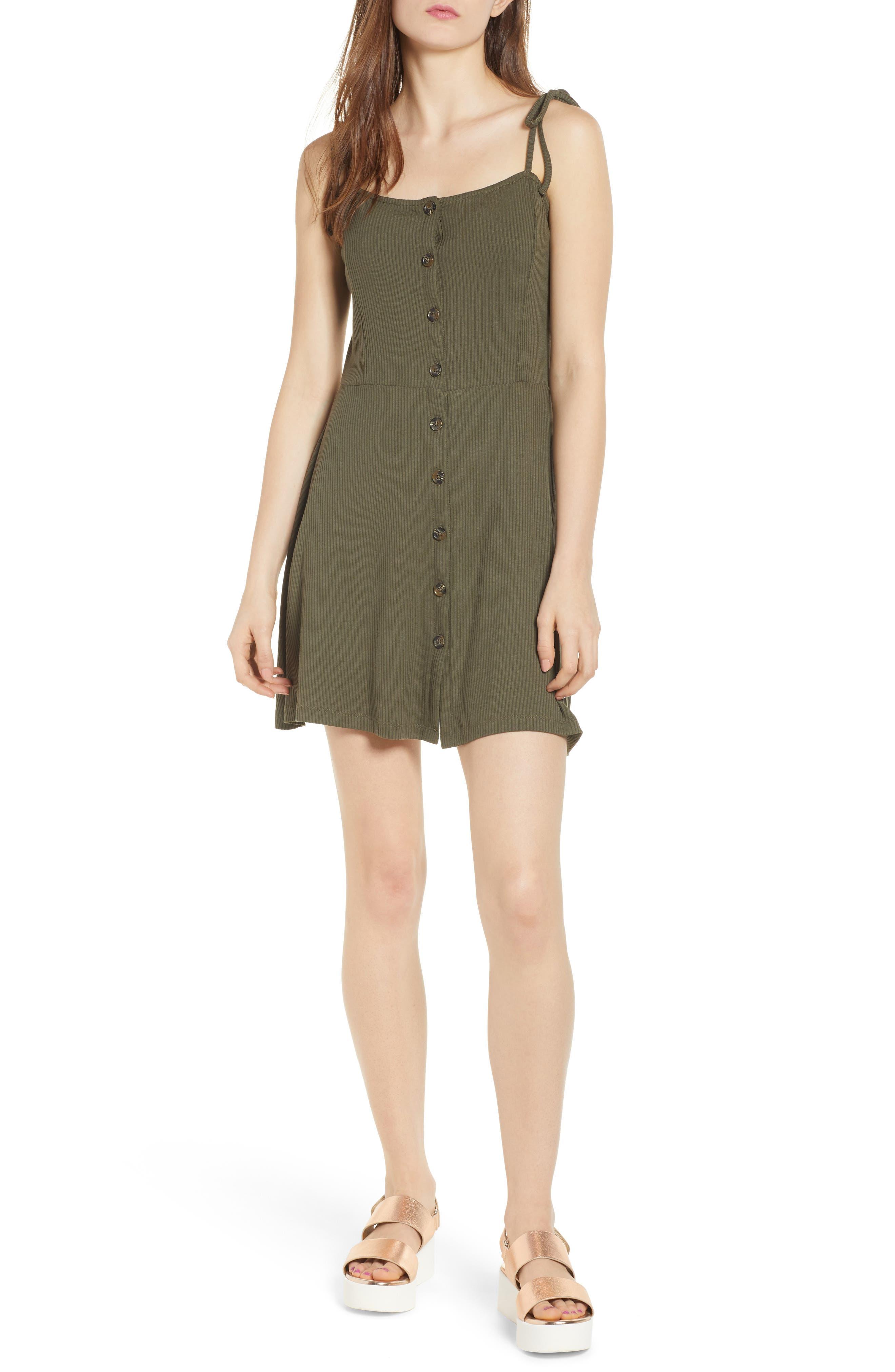 Button Down Rib Minidress,                         Main,                         color, Olive