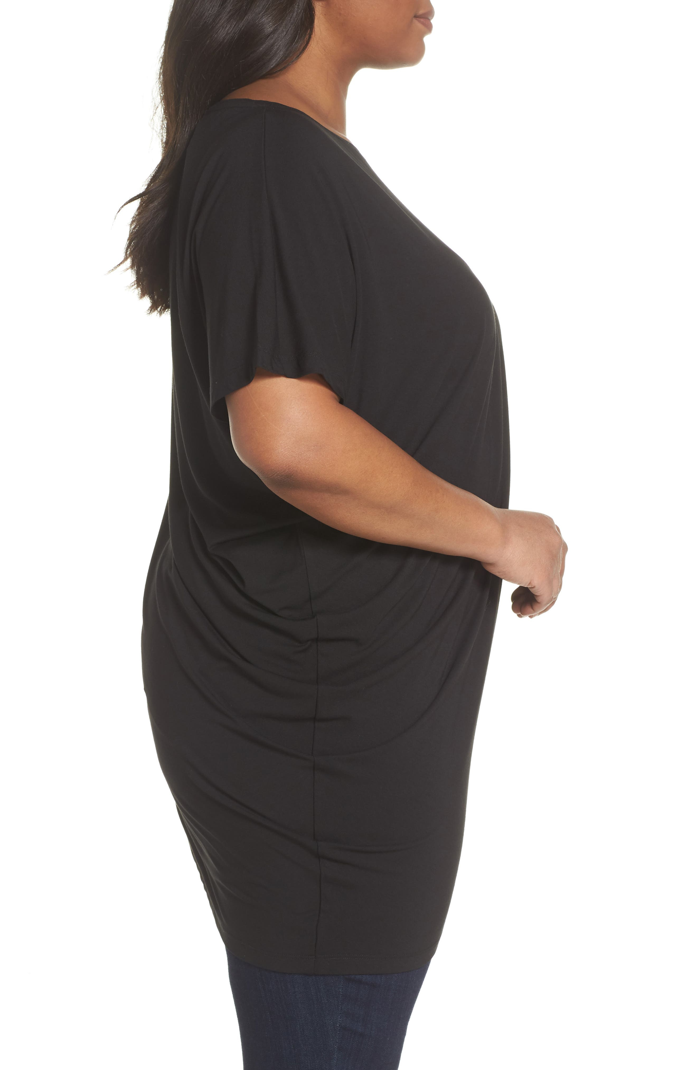 Asymmetrical Tunic Top,                             Alternate thumbnail 3, color,                             Black