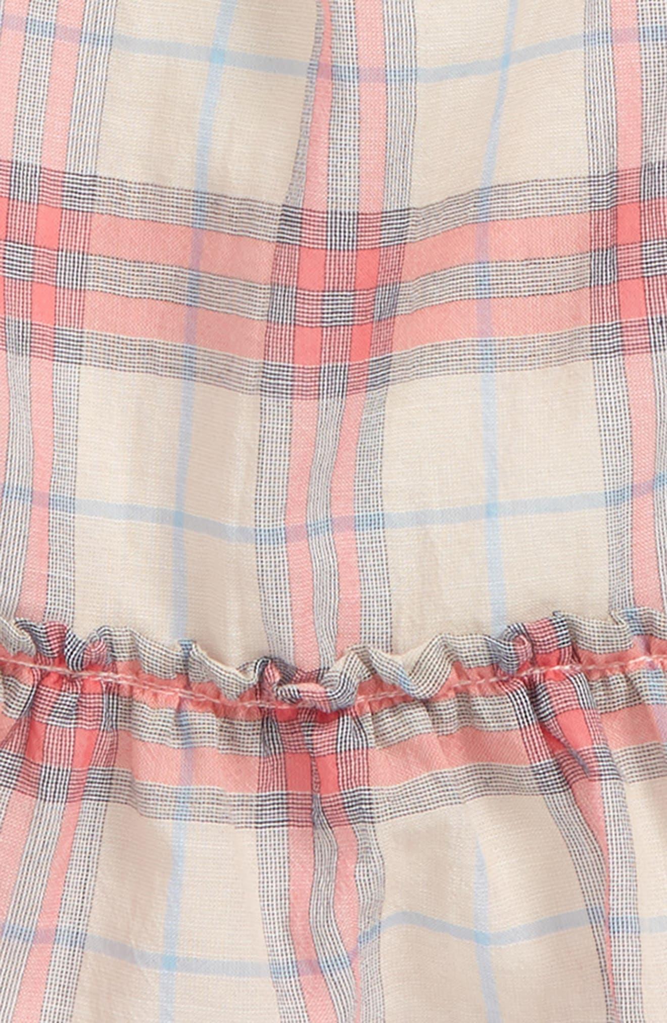 Tania Check Dress,                             Alternate thumbnail 2, color,                             Bright Coral Pink