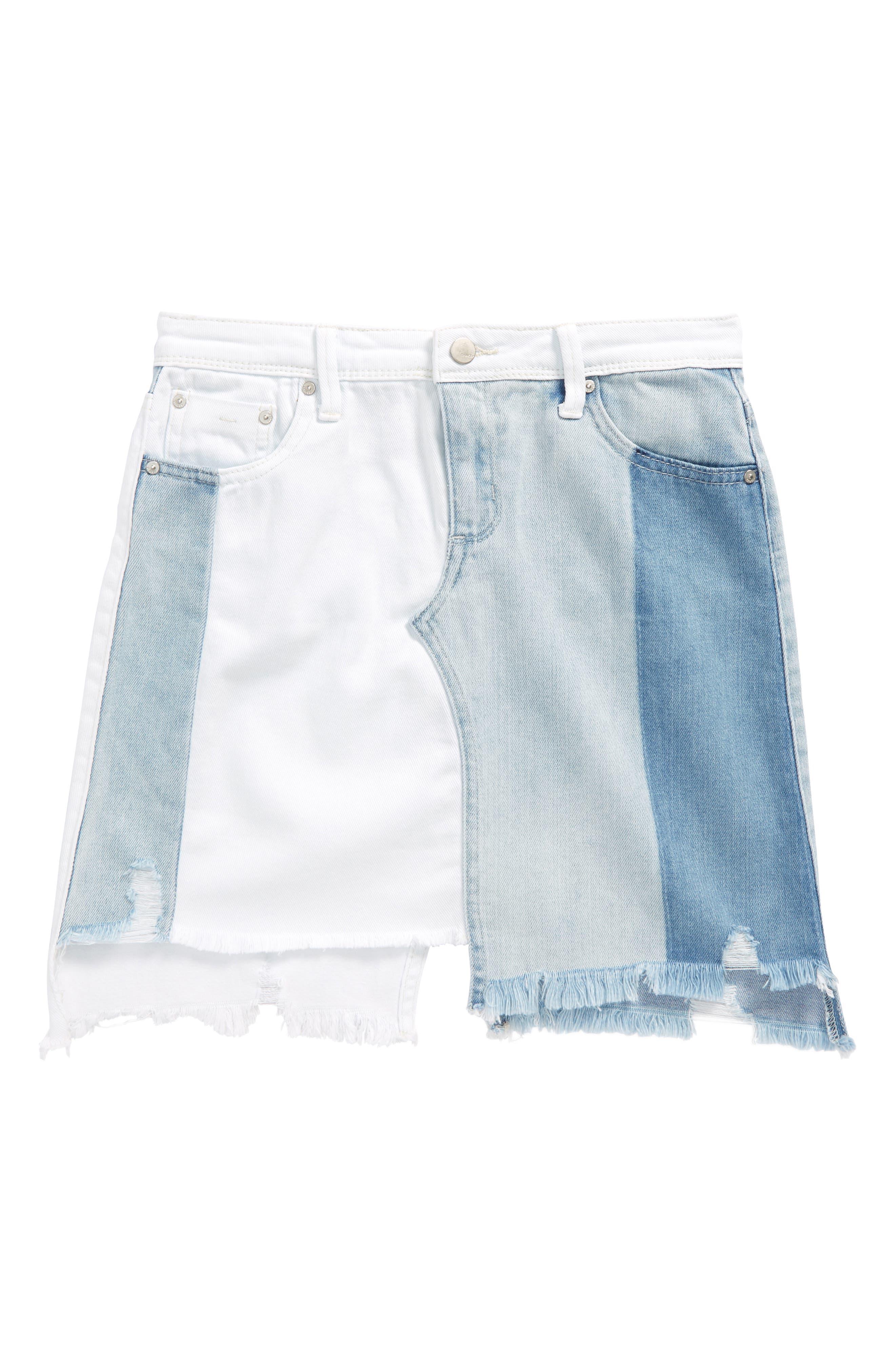 Patchwork Denim Skirt,                         Main,                         color, White/ Indigo