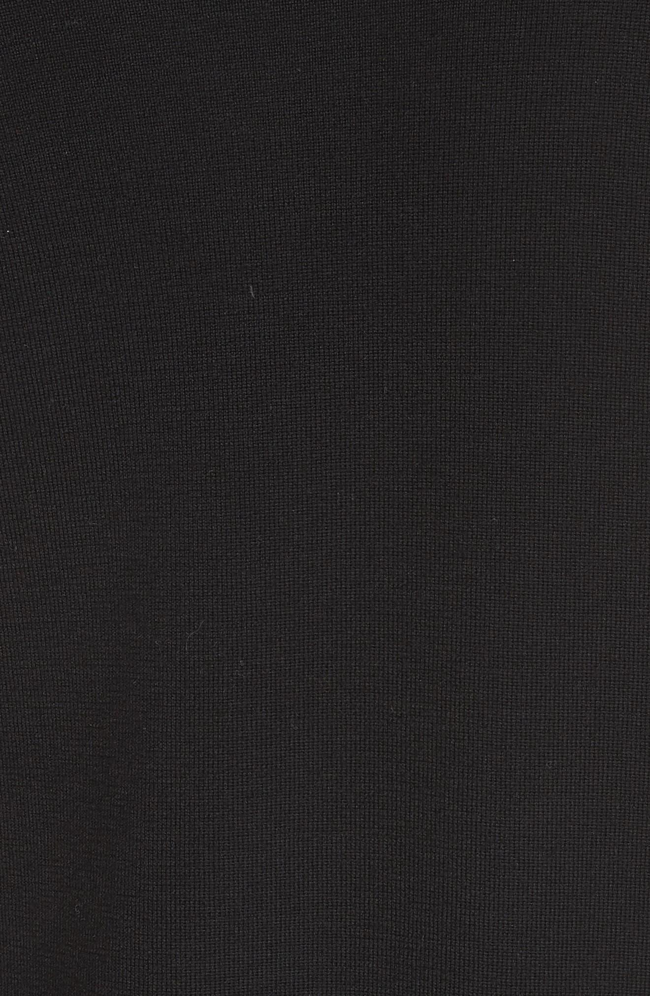 Draped Wool Knit Cardigan,                             Alternate thumbnail 6, color,                             Black