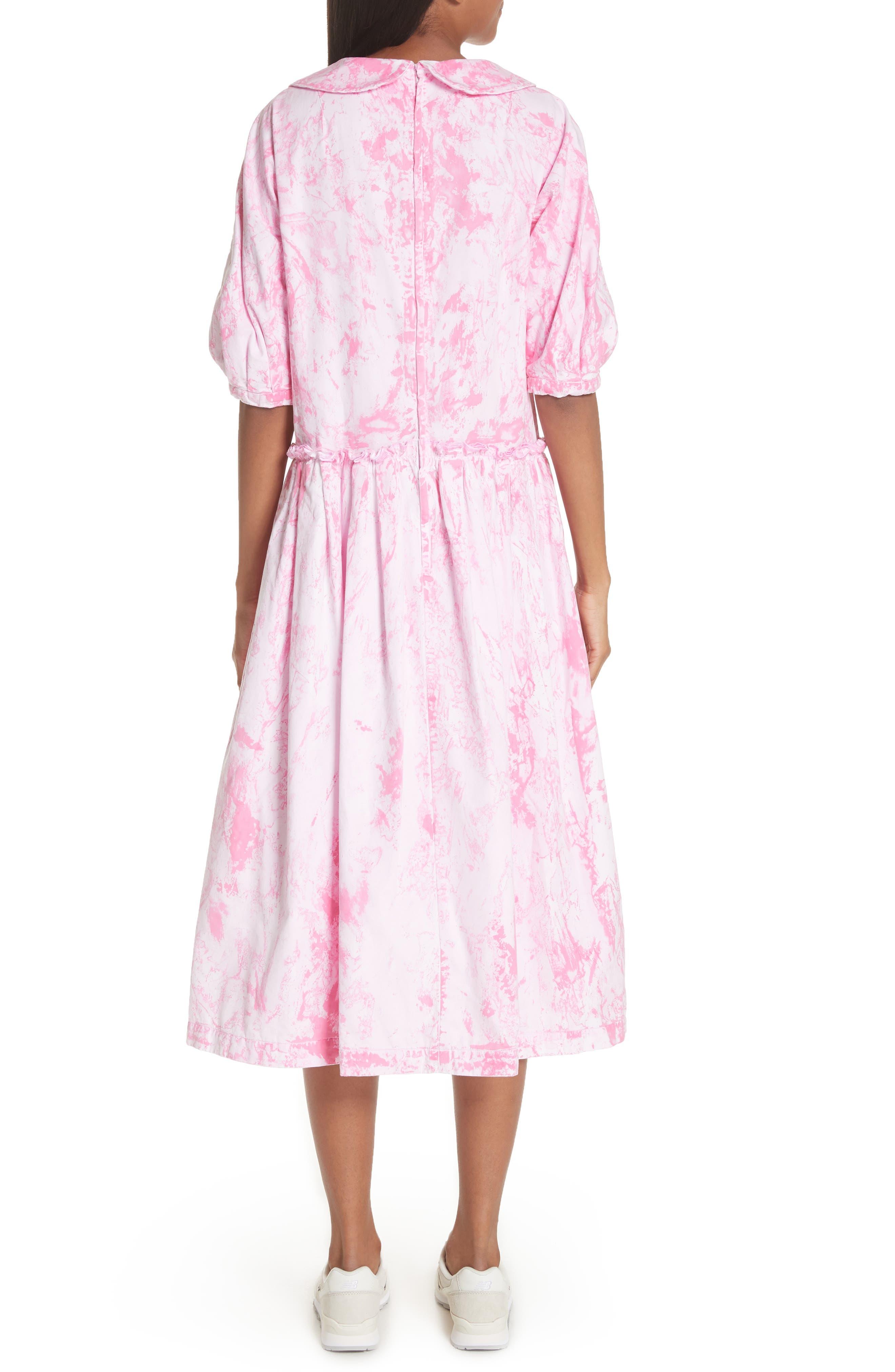 Tie Dye Midi Dress,                             Alternate thumbnail 2, color,                             Pink