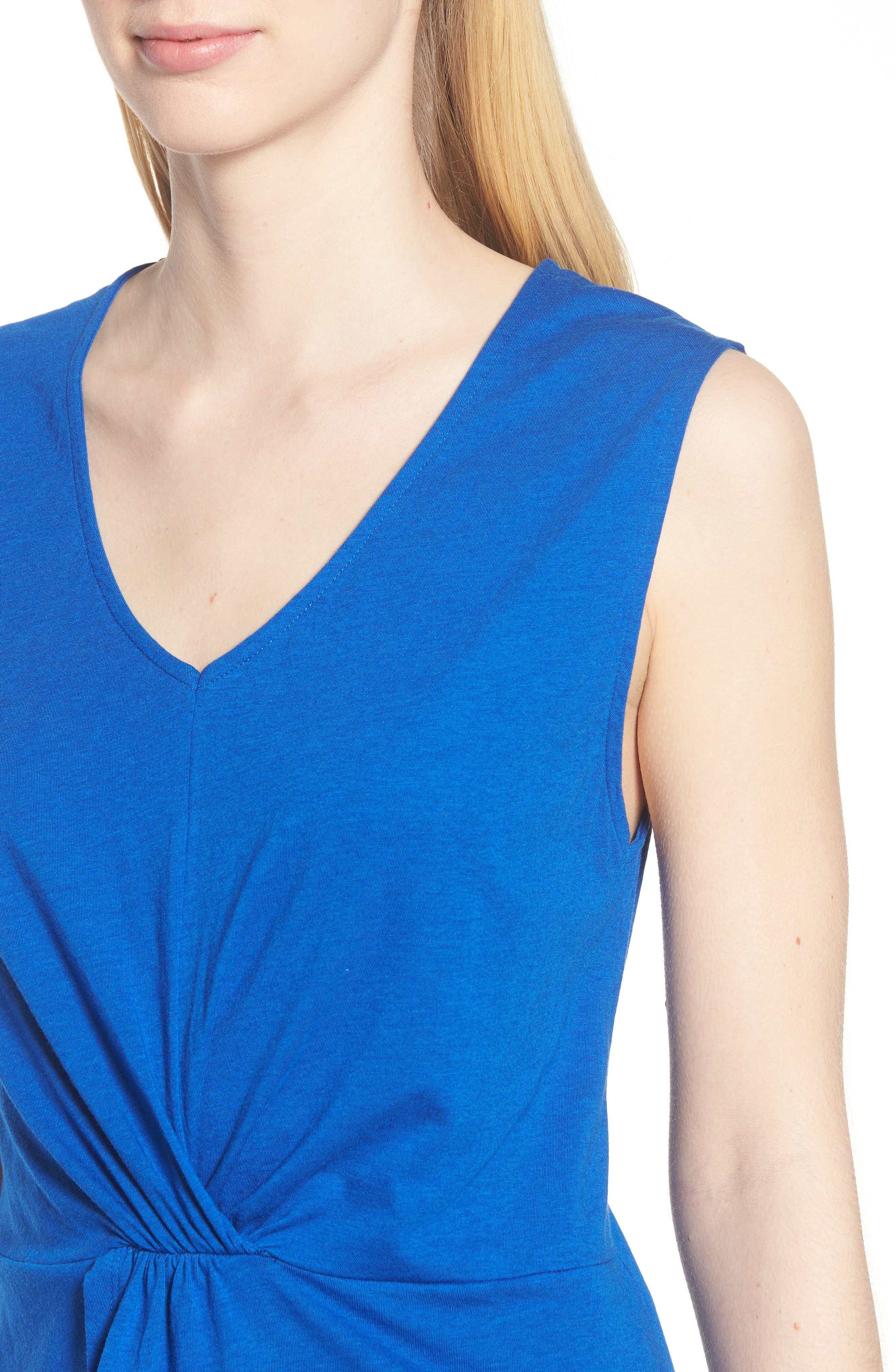 Twist Front Cotton Blend Tank,                             Alternate thumbnail 4, color,                             Colonial Blue