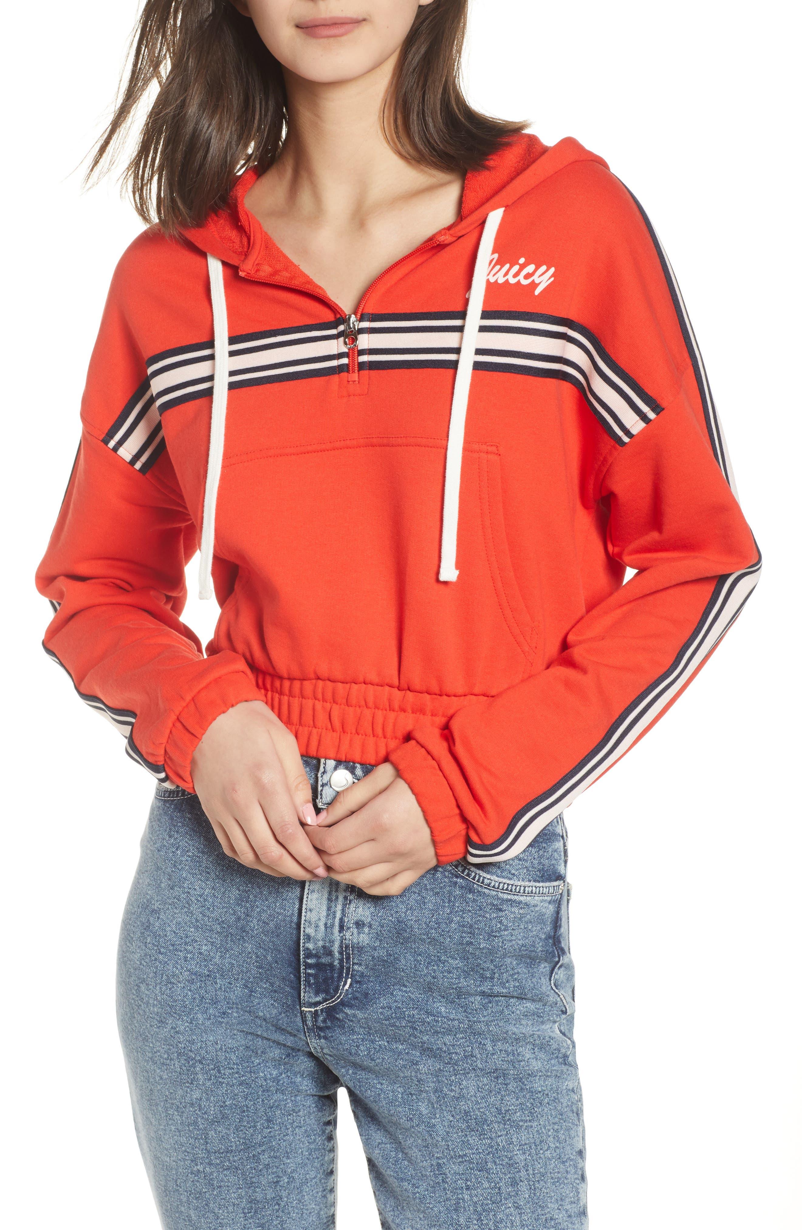 Stripe Half Zip Hoodie,                         Main,                         color, City Rouge