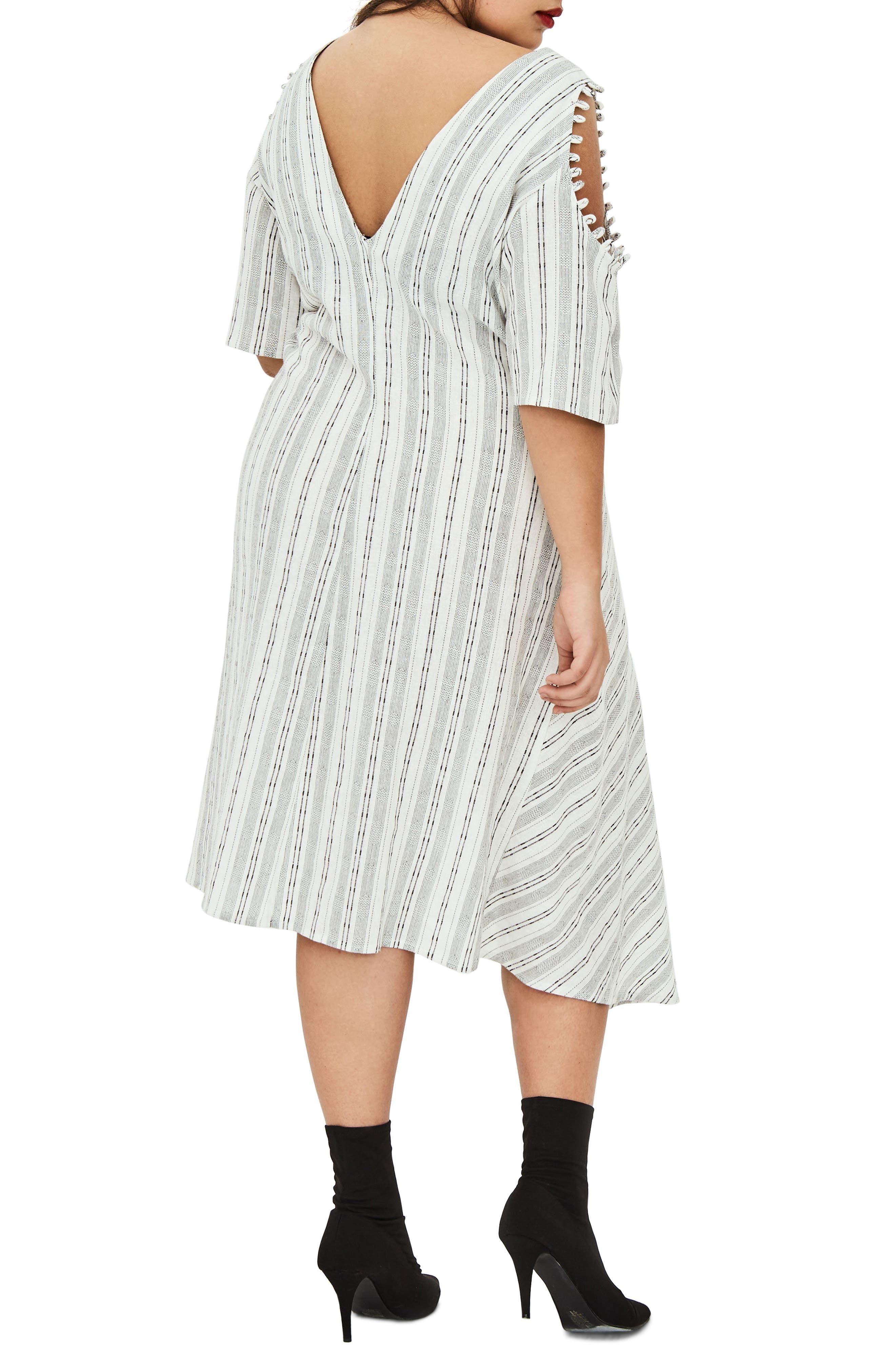 The Masago Stripe Cold Shoulder Dress,                             Alternate thumbnail 2, color,                             White