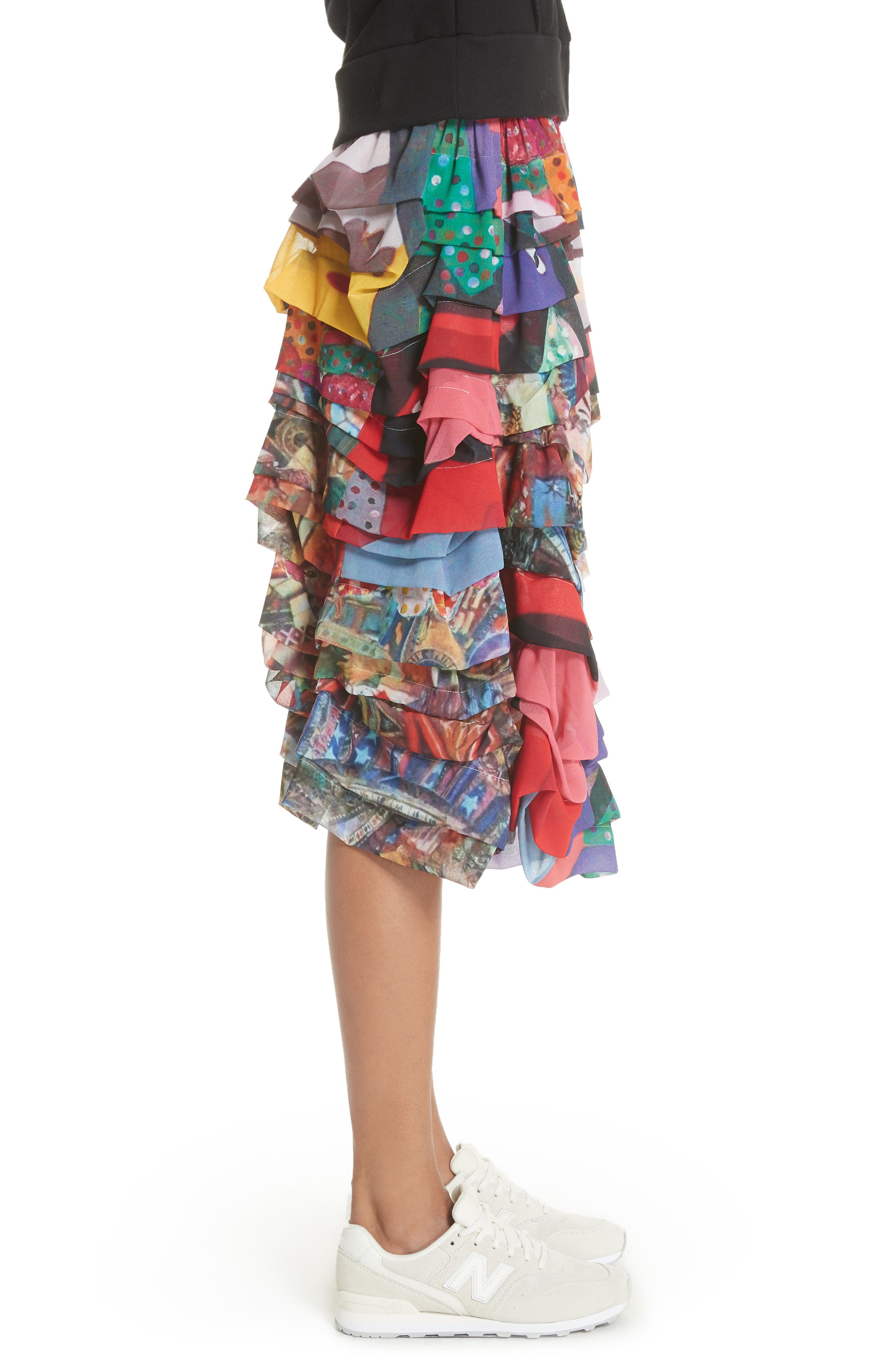 Print Tiered Skirt,                             Alternate thumbnail 3, color,                             R2 Pattern