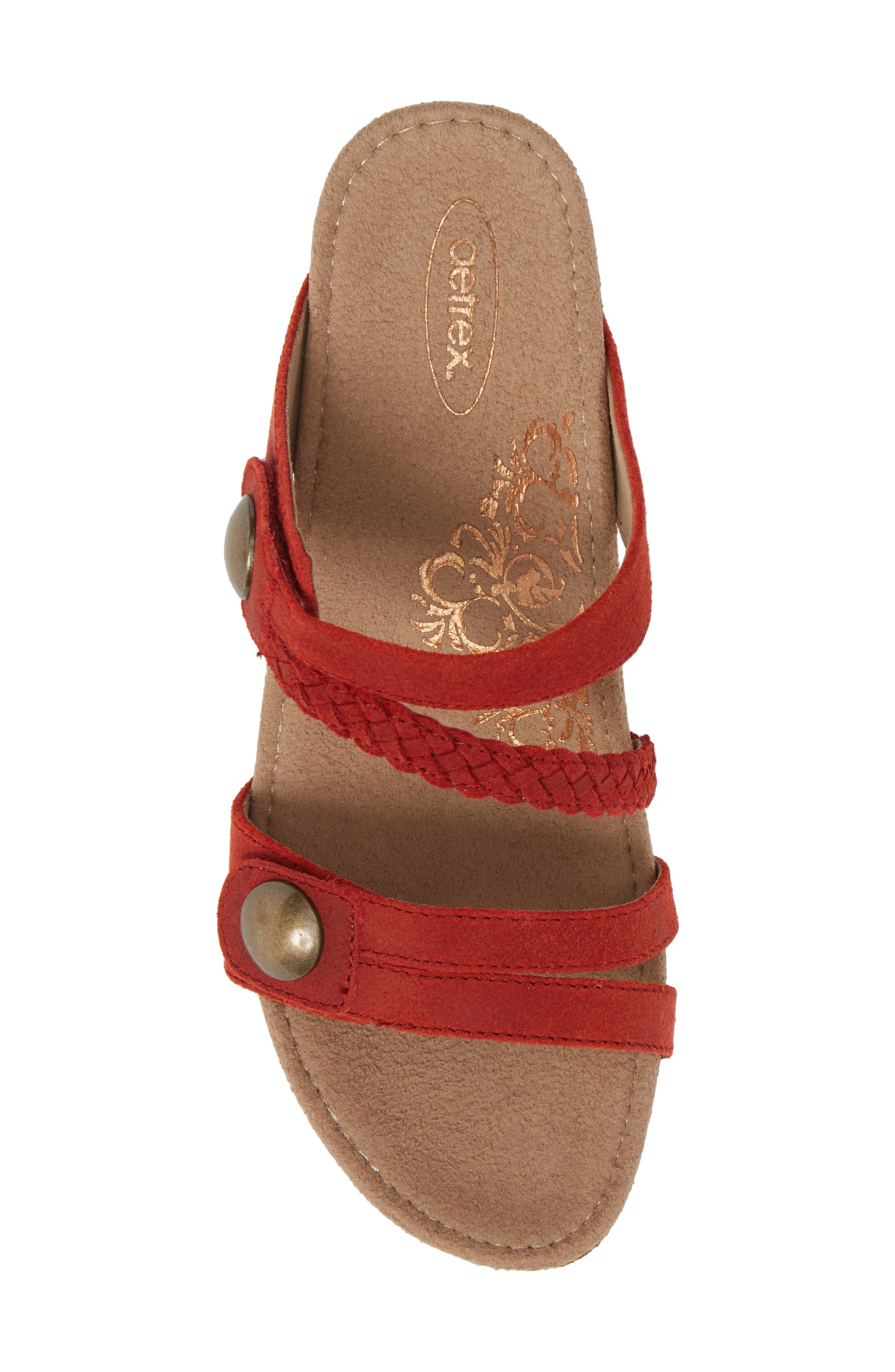 Lydia Strappy Wedge Sandal,                             Alternate thumbnail 5, color,                             Cayenne Leather