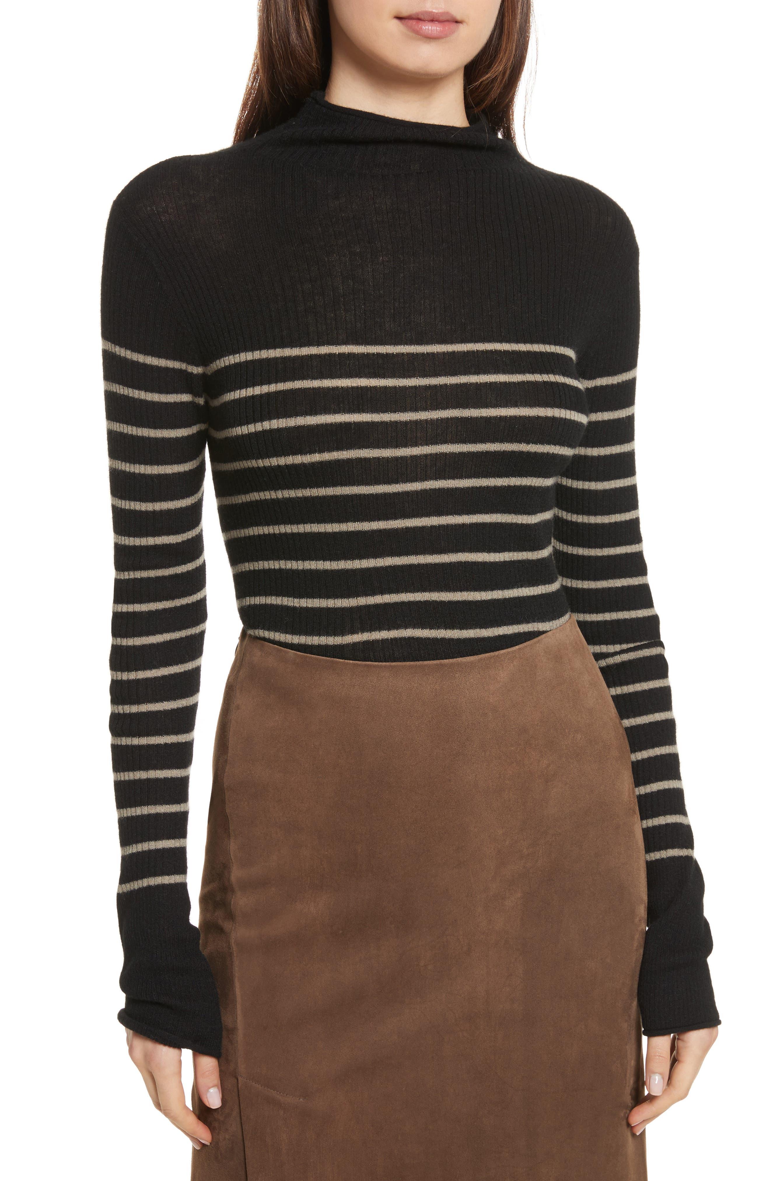 Stripe Ribbed Cashmere Sweater,                             Main thumbnail 1, color,                             Black/ Pebble Taupe