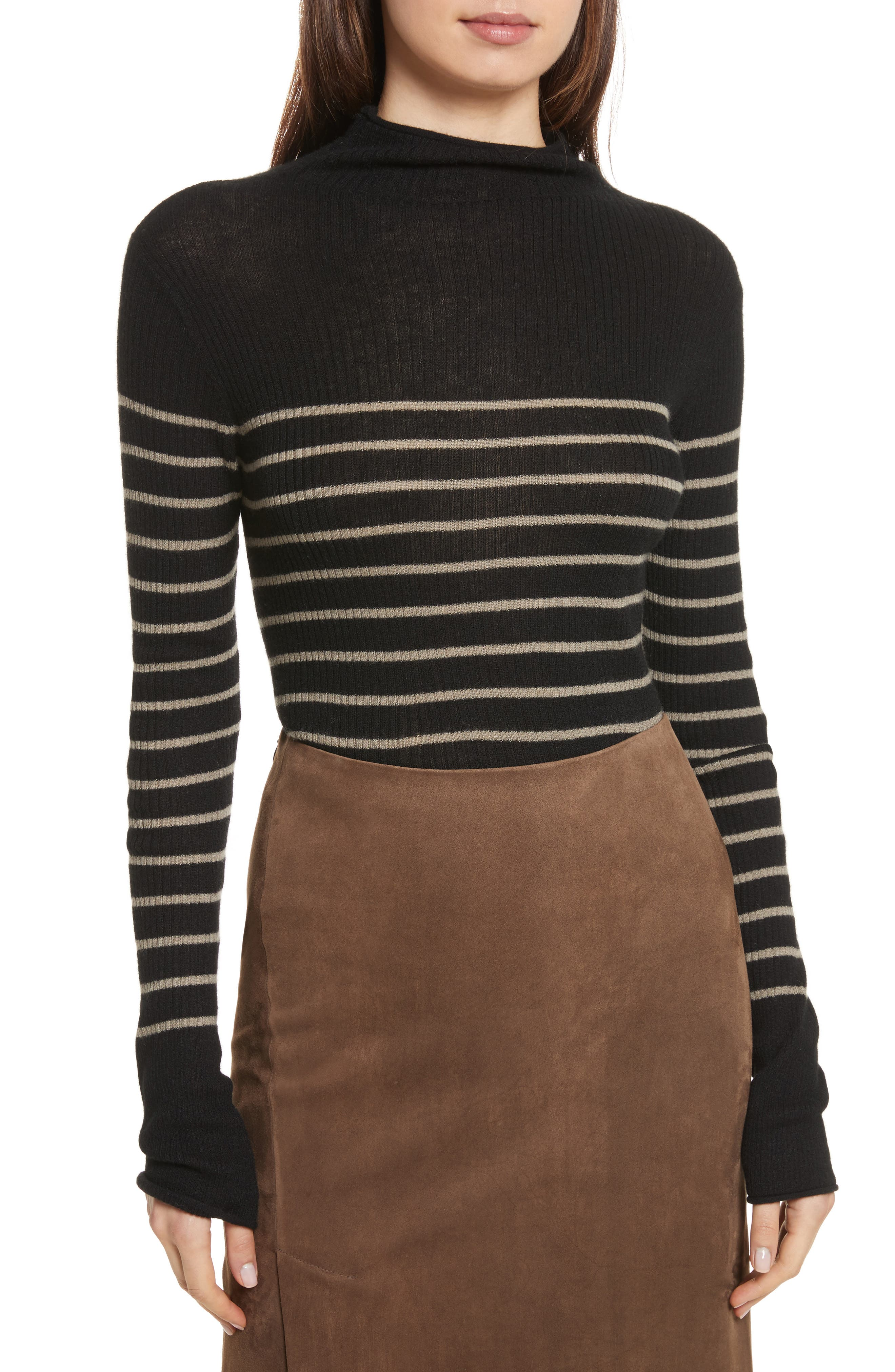 Stripe Ribbed Cashmere Sweater,                         Main,                         color, Black/ Pebble Taupe
